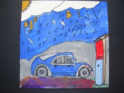 Dixith Subedi painted a picture of his dad parking at the garage with all the snow in the winter of 2015.