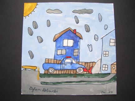 Dylan Dobucki painted a picture of his dad and Dylan plowing out his grandmother during the winter of 2015.