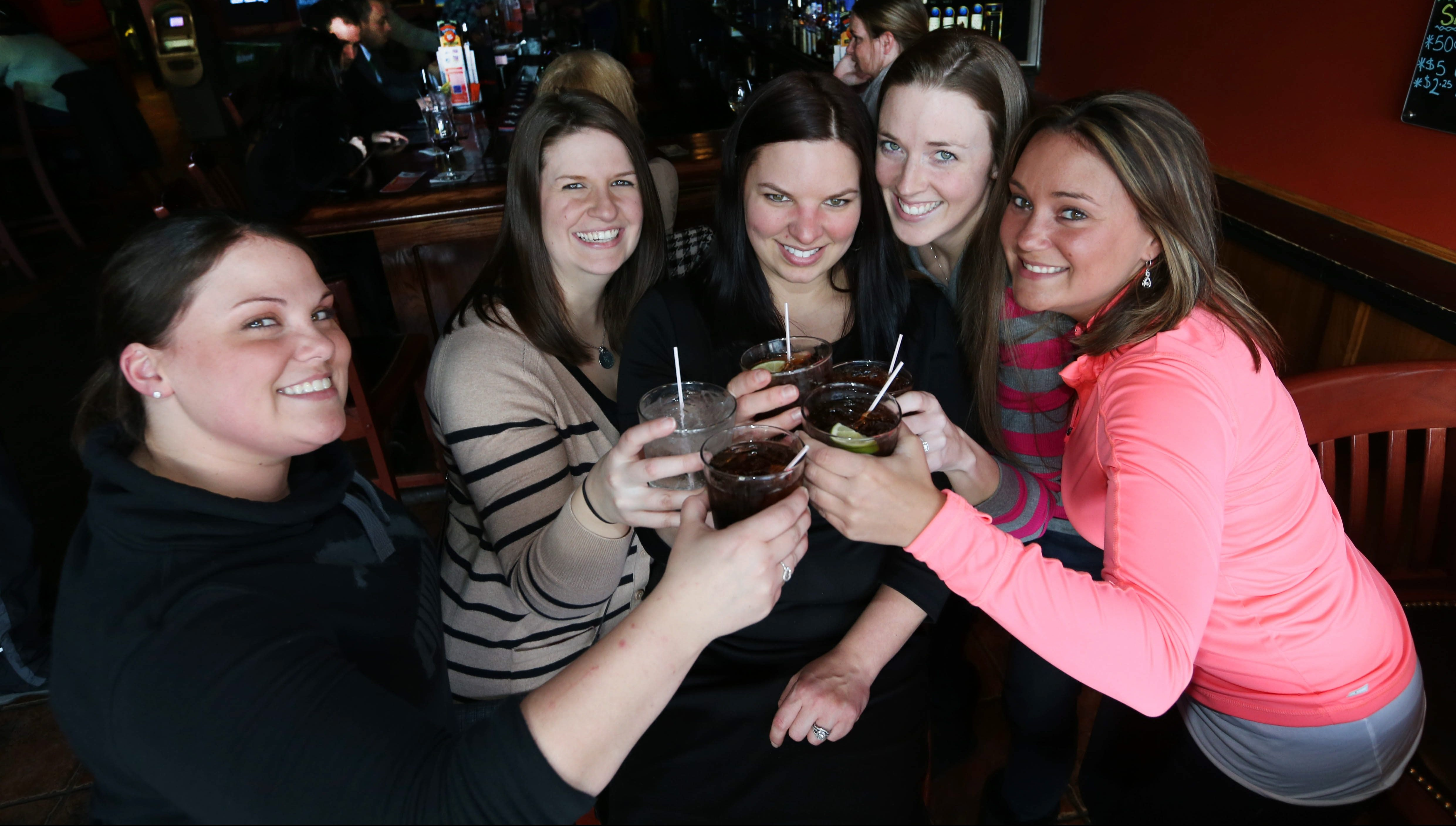 From left, Nicole Clare, Amy Goerss, Kristen Intihar, Shannan Zimmerman and Jackie Clare gather at the Rusty Buffalo to celebrate Intihar's birthday. To see more photos, visit buffalonews.com. (Photos by Sharon Cantillon/Buffalo News)