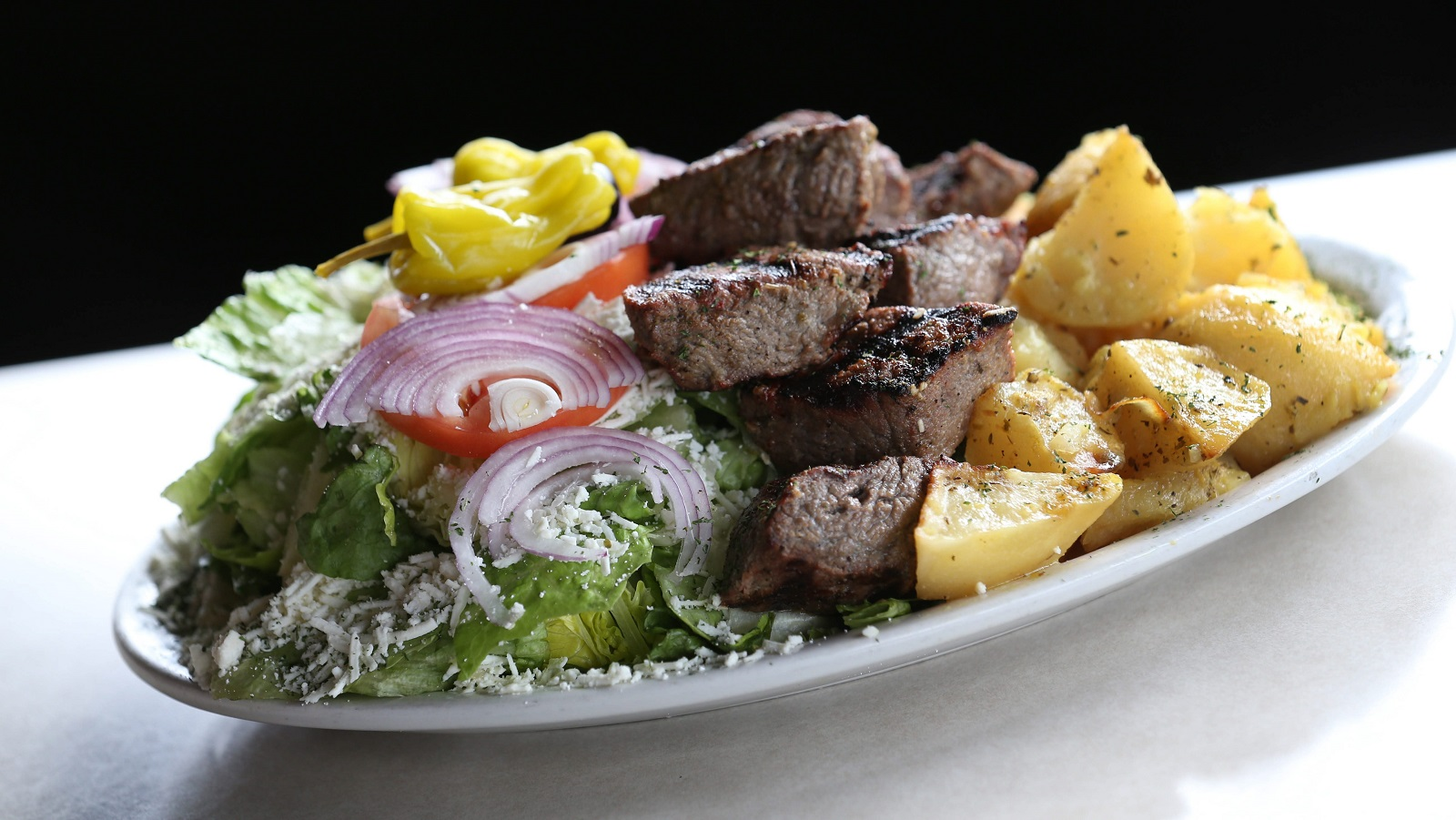 Zoe's beef souvlaki dinner with charbroiled, marinated Angus beef. (Sharon Cantillon/Buffalo News)
