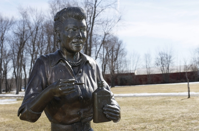 The life-size bronze statue of Lucille Ball is seen in the Lucille Ball Memorial Park in Celoron, the famous comedian's hometown. (Derek Gee/Buffalo News)