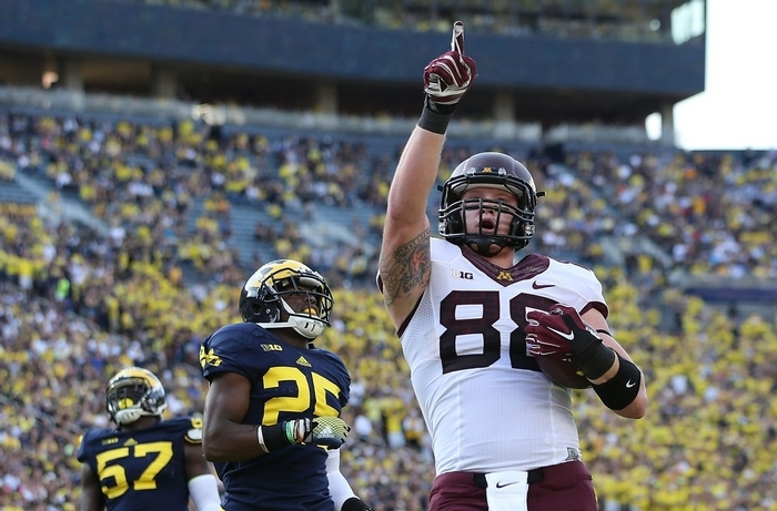 Maxx Williams of Minnesota set single-season school records for receiving yards (569) and TDs (eight) by a tight end. (Getty Images)