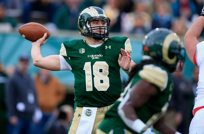 A hamstring injury kept Colorado State quarterback Garrett Grayson out of the NFL Combine and his team's Pro Day. (Getty Images)