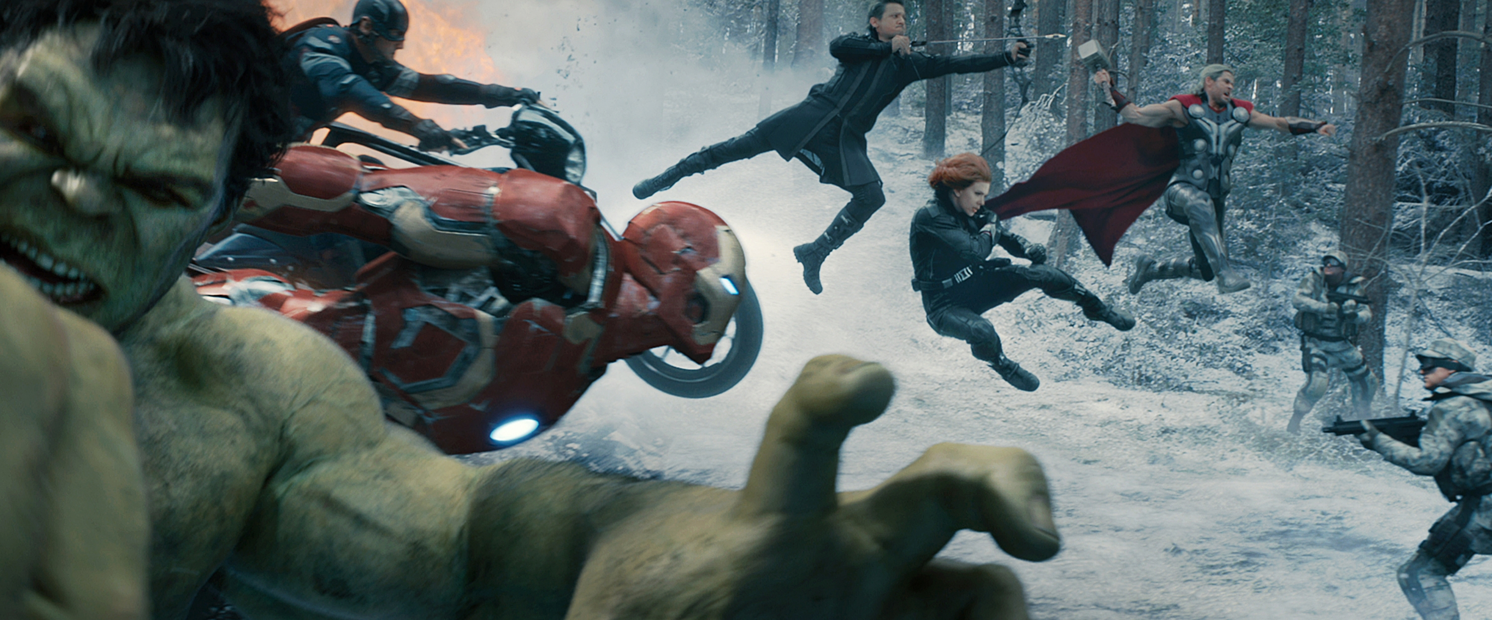"""From left, Hulk (Mark Ruffalo), Captain America (Chris Evans), Iron Man (Robert Downey Jr.), Hawkeye (Jeremy Renner), Black Widow (Scarlett Johansson) and Thor (Chris Hemsworth) star in """"Avengers: Age of Ultron,"""" which opens Thursday night in area theaters."""
