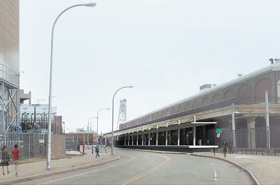 Architect's rendering shows the proposed rail platform adjacent to the DL&W complex on South Park Avenue.