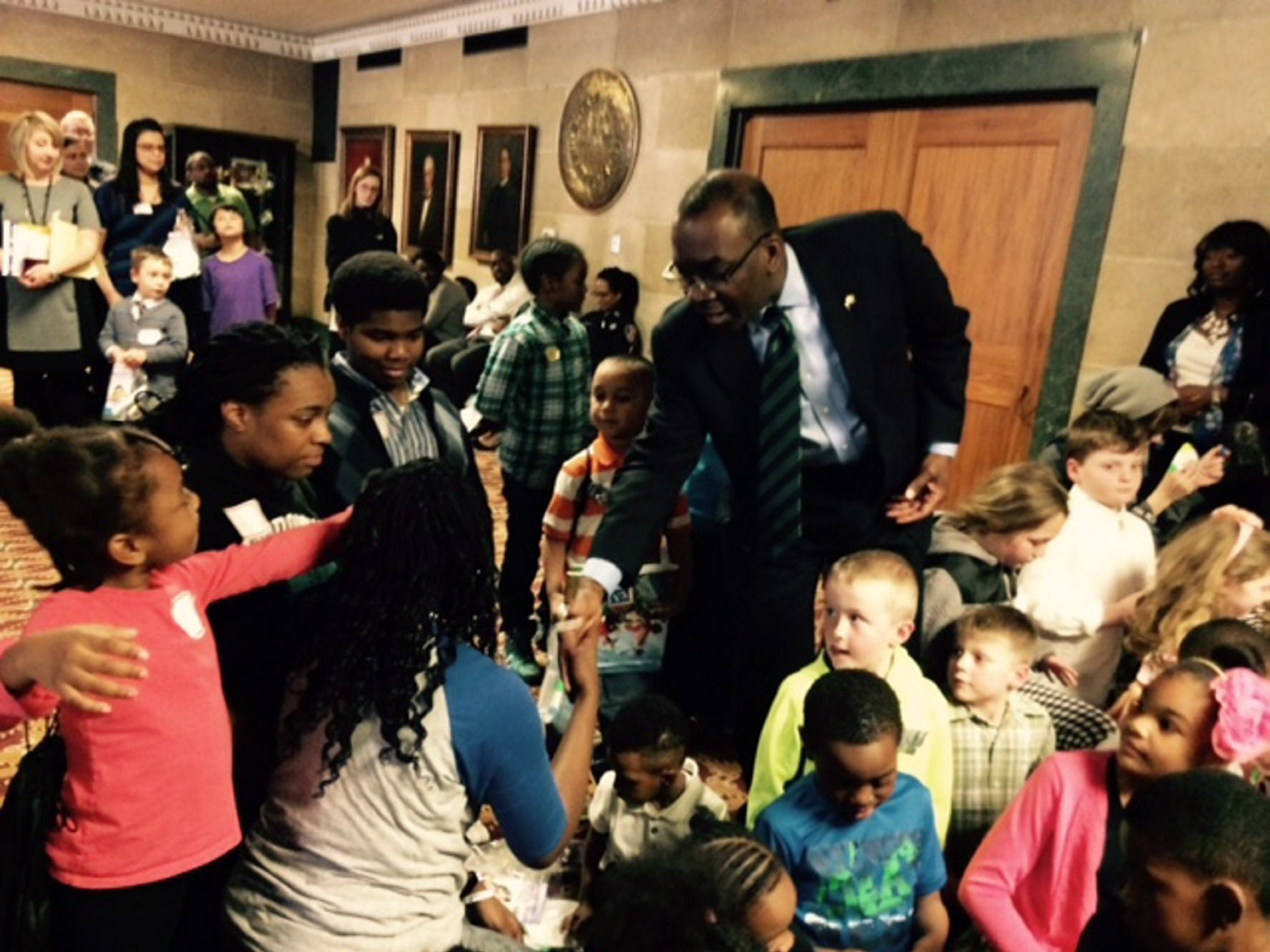 """Mayor Byron Brown addresses a group of children at City Hall on April 29 for """"Take Our Daughters and Sons to Work Day."""" (Susan Schulman)"""