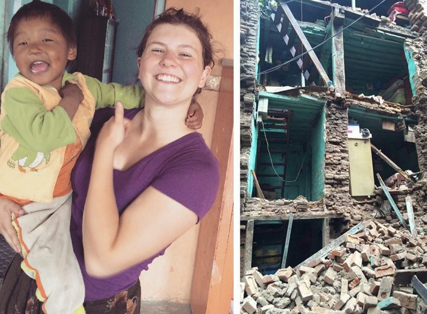 18-year-old Christina Morrow is shown with one of her charges at the Nepal orphanage where she volunteered. She and the 26 orphans in the home survived Saturday's earthquake. (Photos provided by Christina Morrow)
