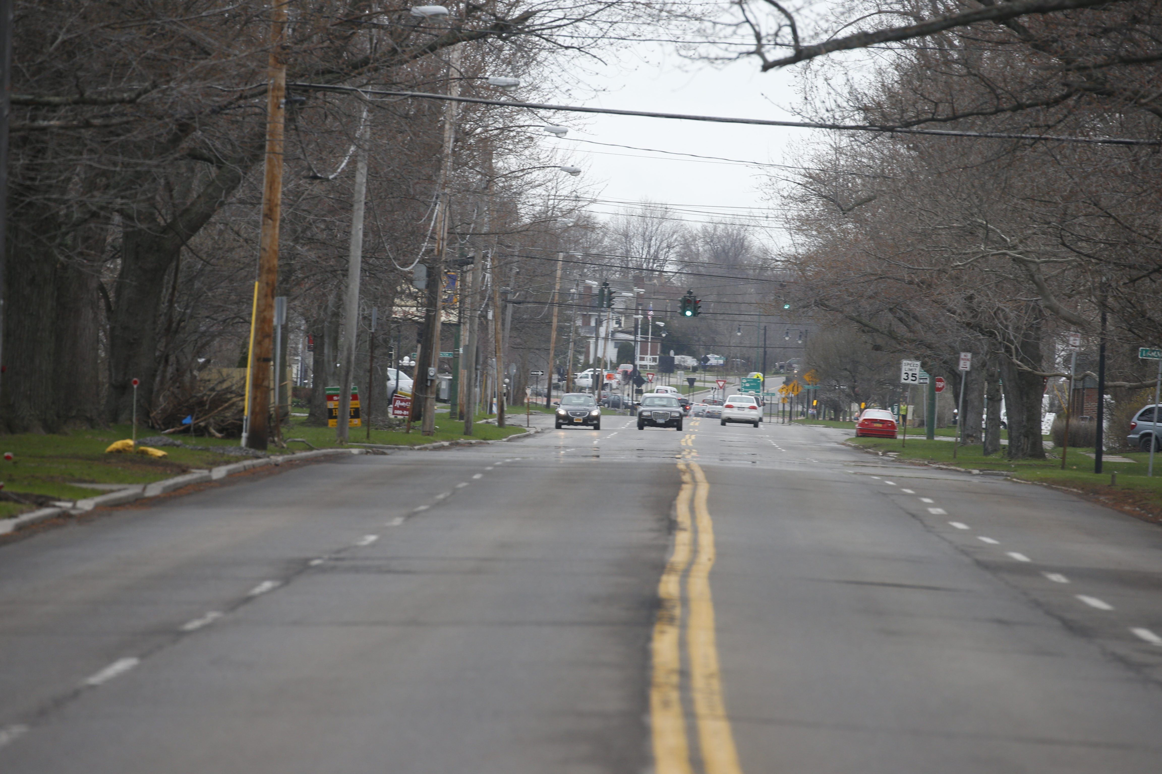 "A one-mile stretch of Kensington, between Main and Harlem, that the town is proposing a ""road diet"" for, basically it wants to restripe the road, drop it from four lanes to two and add bike lanes or parking spots in the hope  this technique will slow down traffic in Amherst, NY on Thursday, April 23, 2015.  ()"