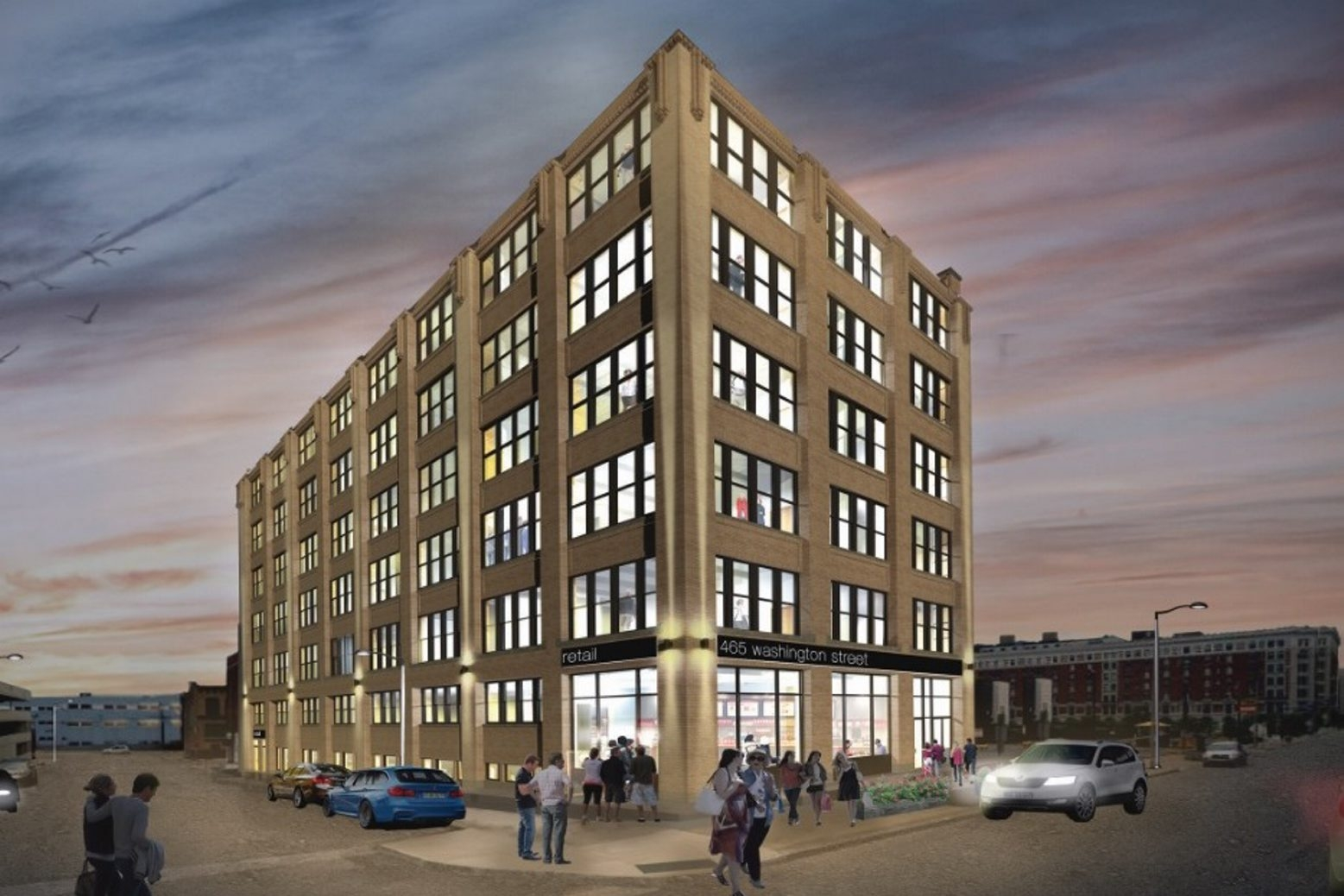 This architect's rendering shows the Ciminelli mixed-use project that's planned for 465 Washington St.