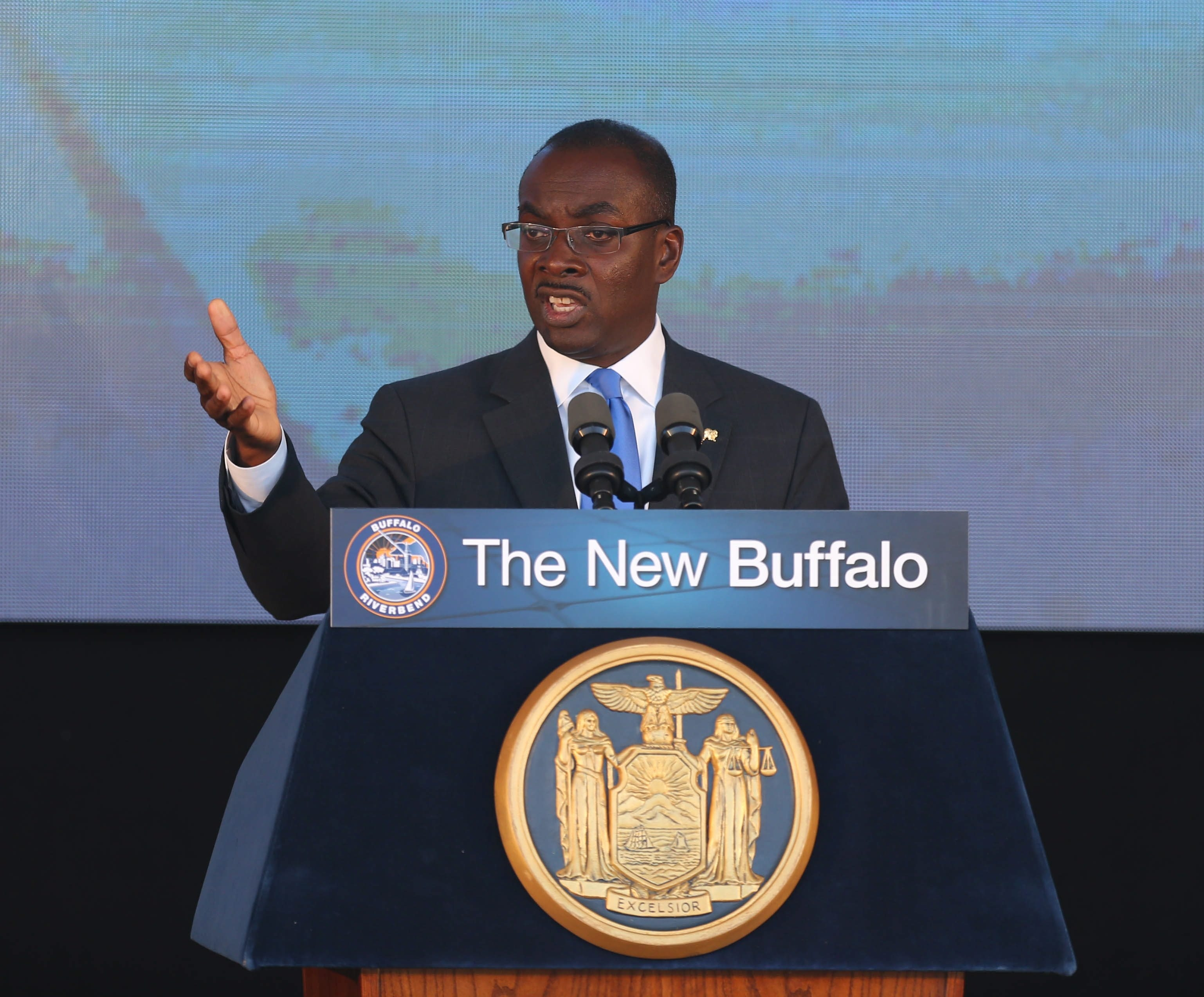 Mayor Byron Brown speaks during the announcement of the Riverbend project in South Buffalo Tuesday, September 23, 2014.  (Mark Mulville/Buffalo News)