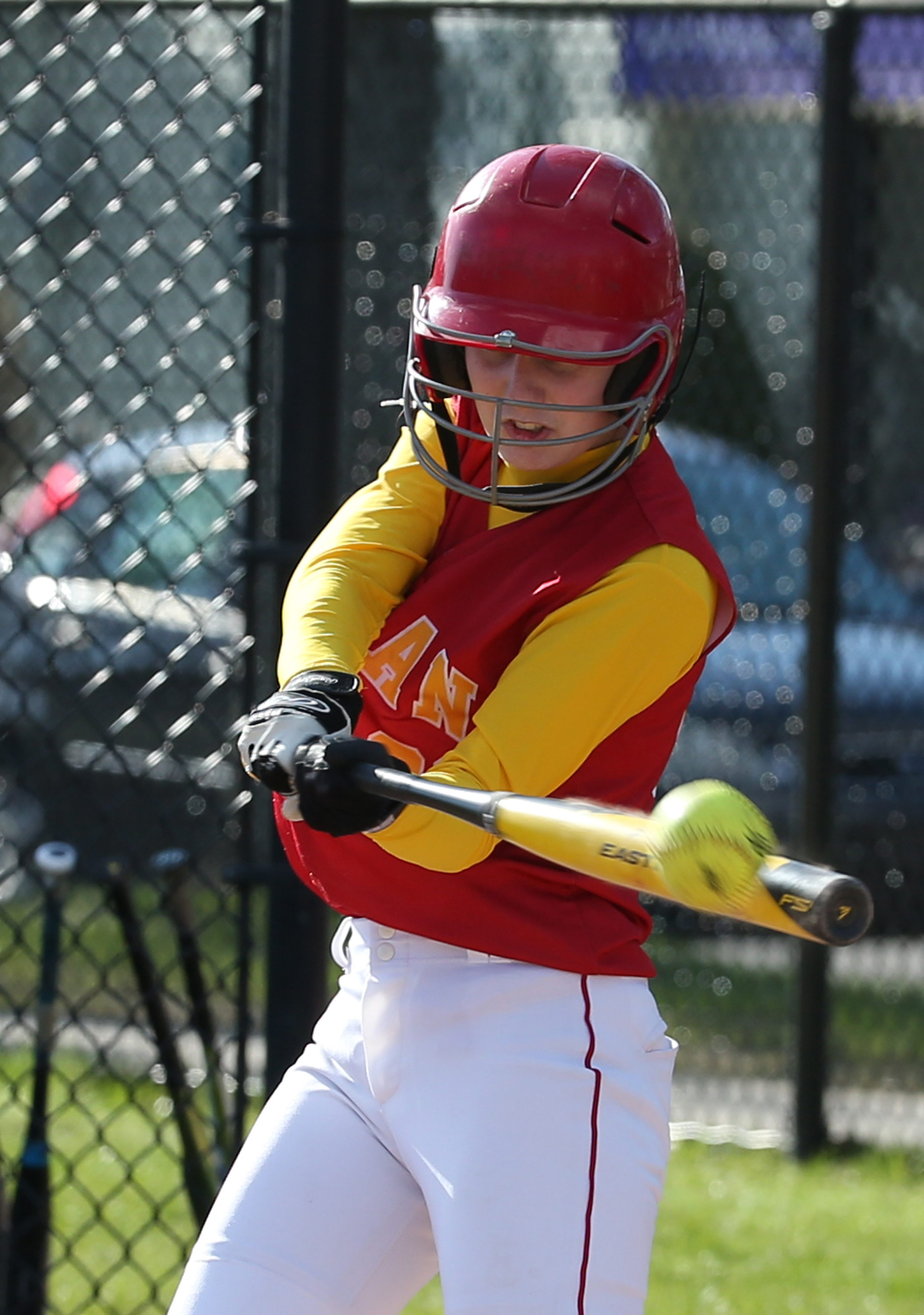 Olean's Miranda Sakala connects on a double in the fourth inning against visiting Cassadaga Valley.