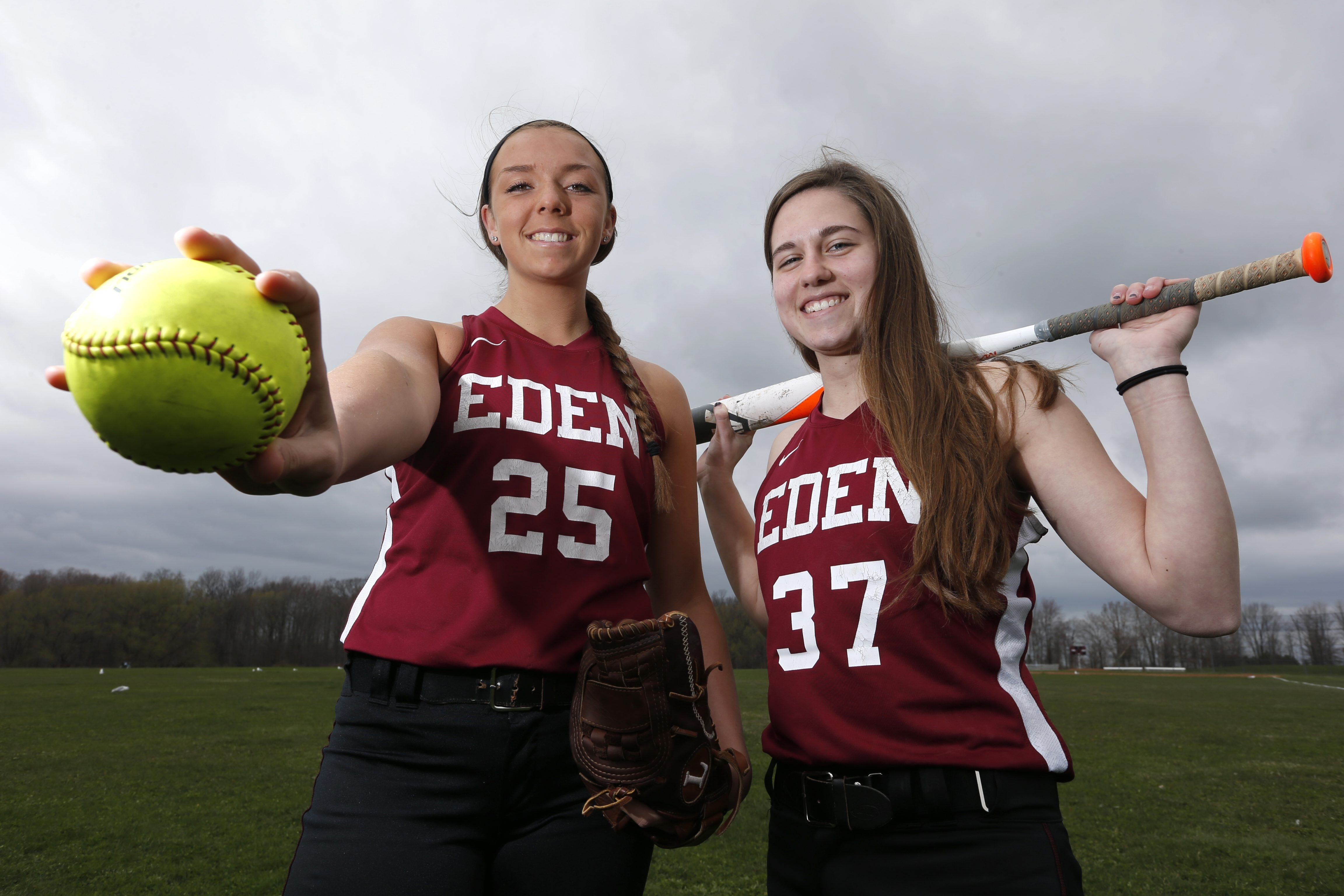 Carly Nasca and Jill Murray helped lead the Eden softball team to the Class B state championship in 2014.