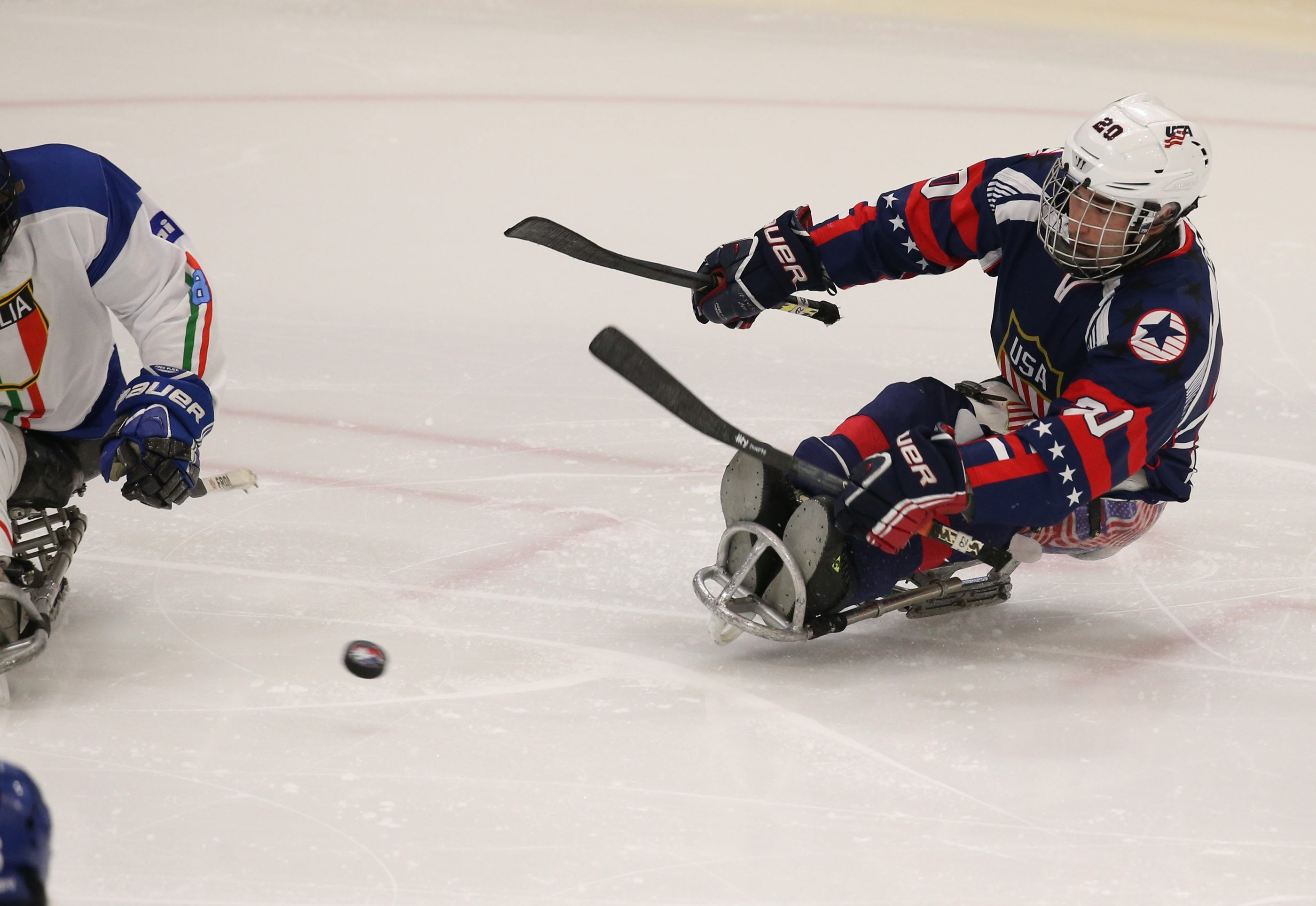 Adam Page of the U.S. who scored a goal, goes after the puck in the second period at HarborCenter on Wednesday.