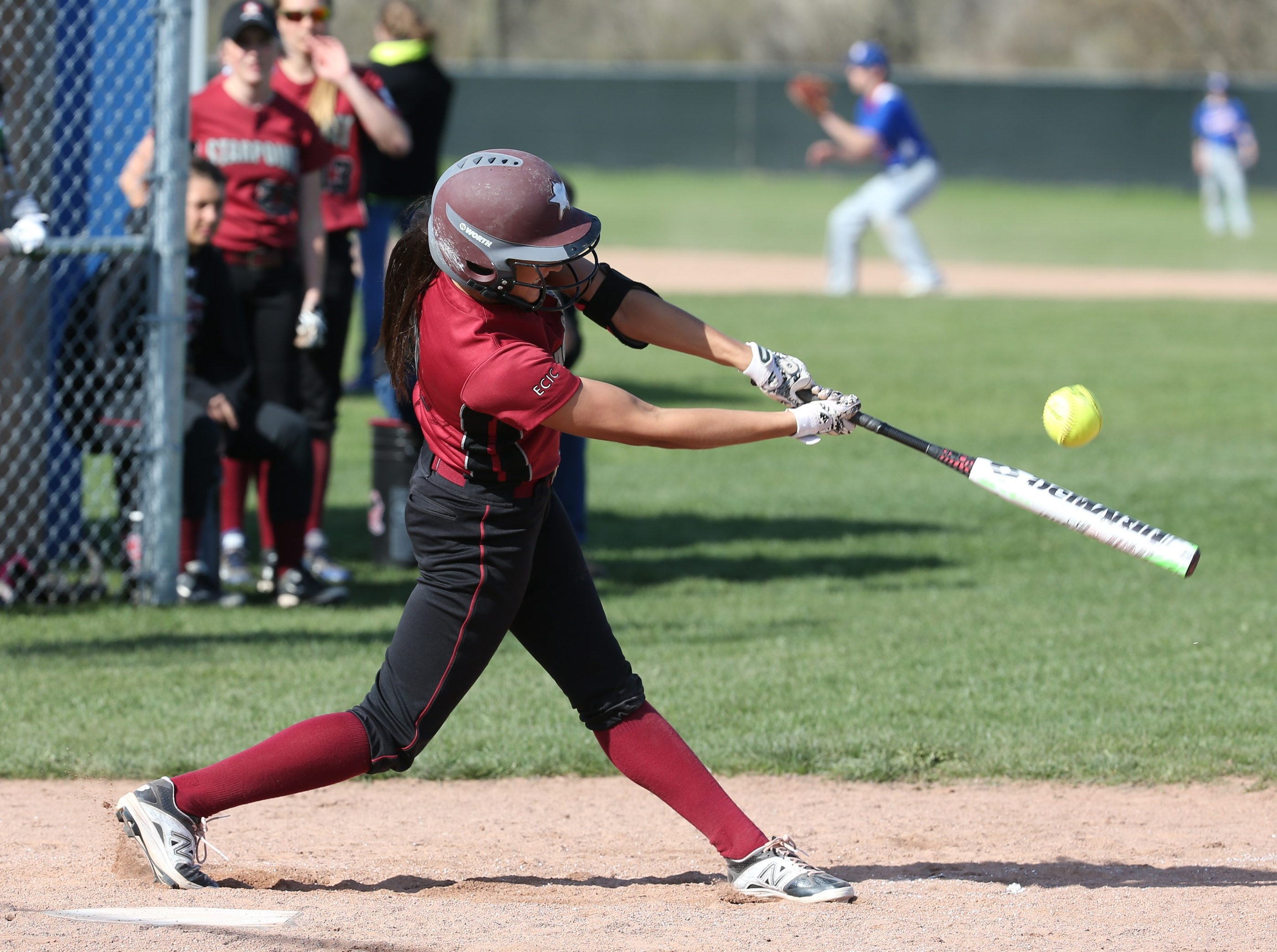 Aren Schwab strokes a two-run homer for Starpoint in Wednesday's 4-2 softball loss at Williamsville South.