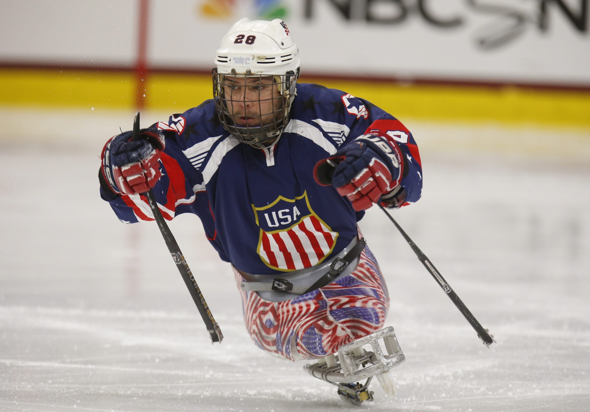 USA's Paul Schaus is one of four Purple Heart winners on his team's roster this year.