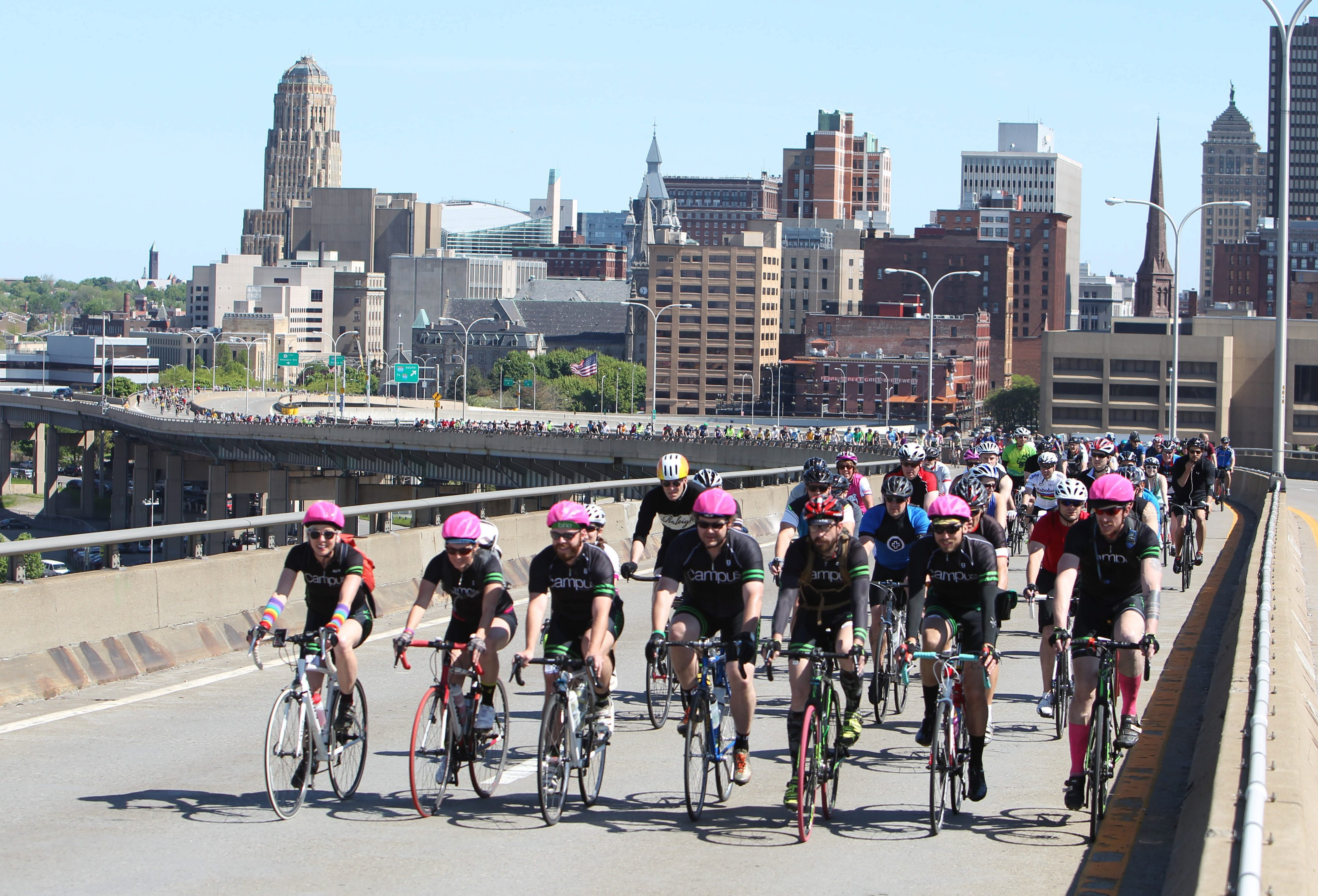 The annual bike ride over the Skyway is just one sign of Buffalo's growing acceptance of bicycling. (Sharon Cantillon/Buffalo News file photo)