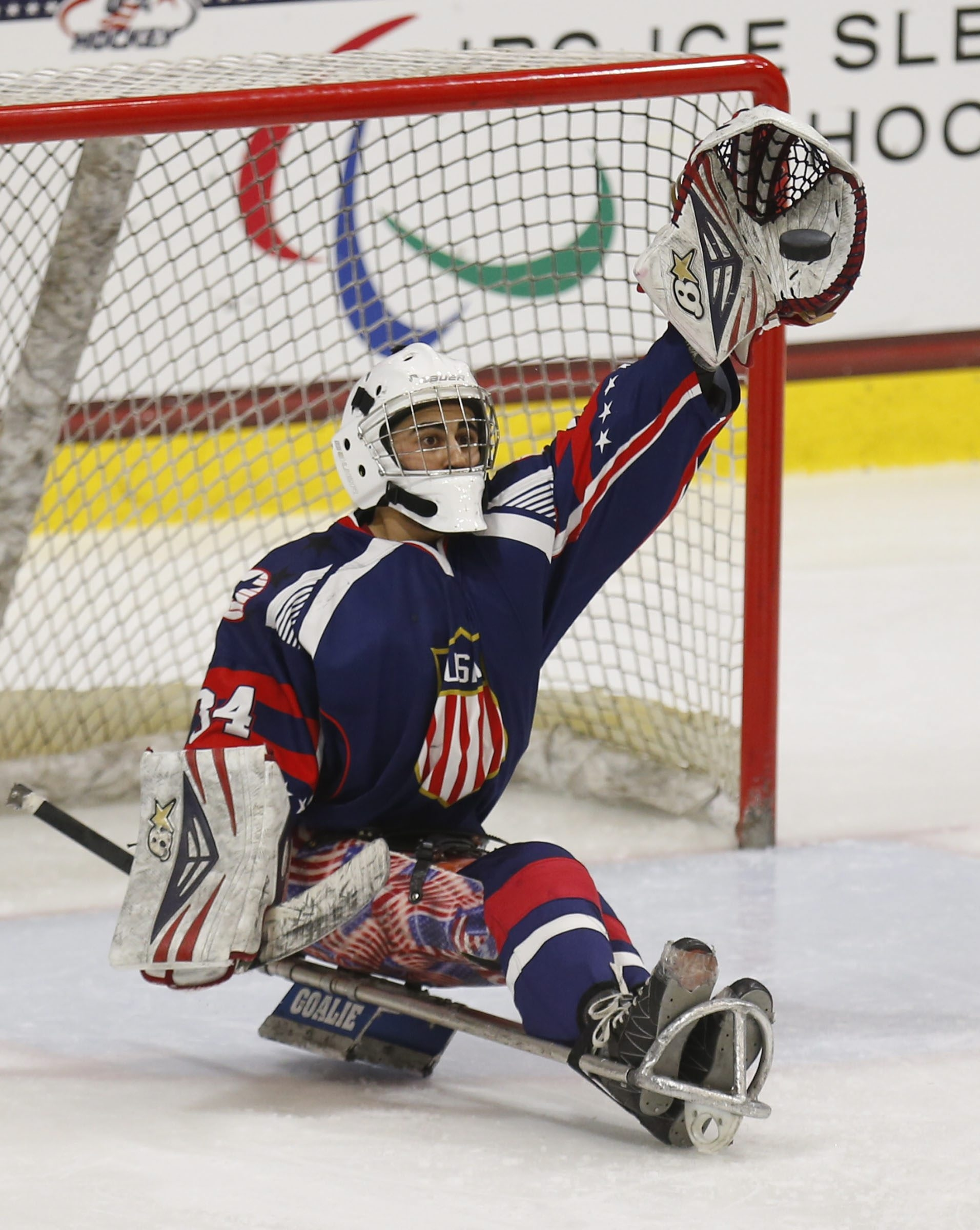USA goaltender Steve Cash stops a Russian shot during third period action in the IPC Ice Sledge Hockey World Championships HarborCenter on Sunday, April 26, 2015.(Harry Scull Jr./Buffalo News)