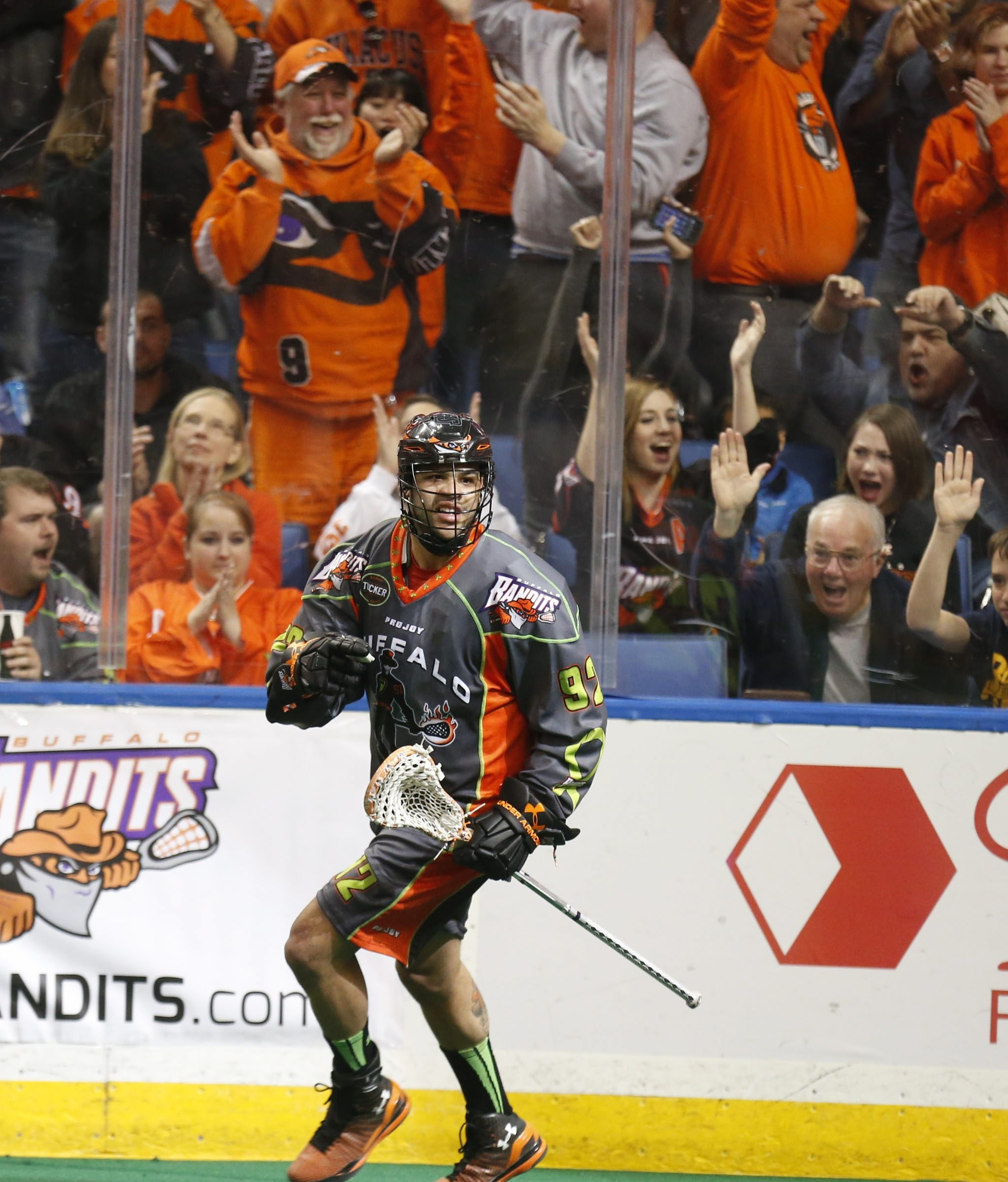 Buffalo Bandit Dhane Smith celebrates a goal Saturday.