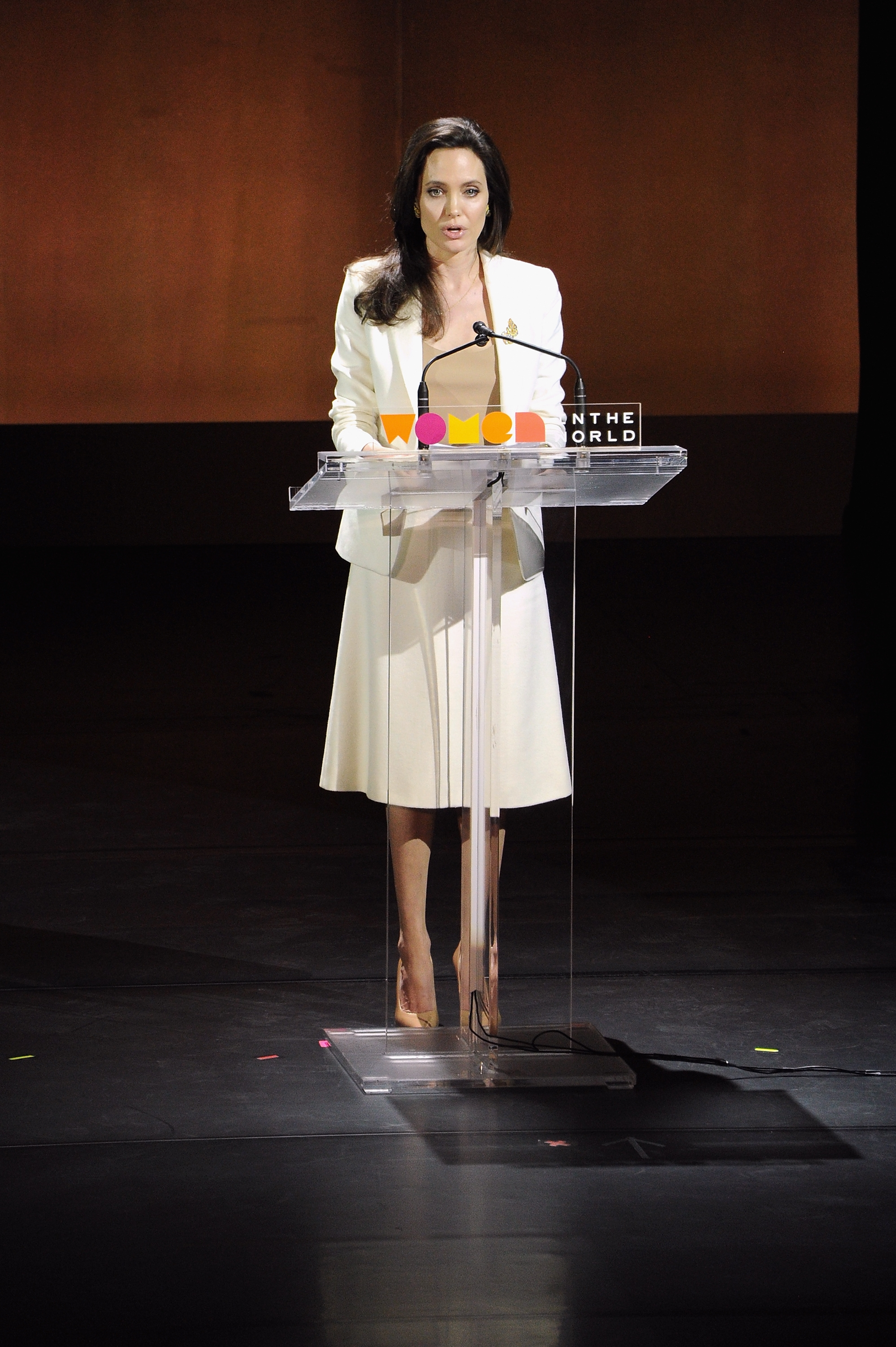 Actress Angelina Jolie speaks on stage during the Women In the World Summit Friday in New York City.