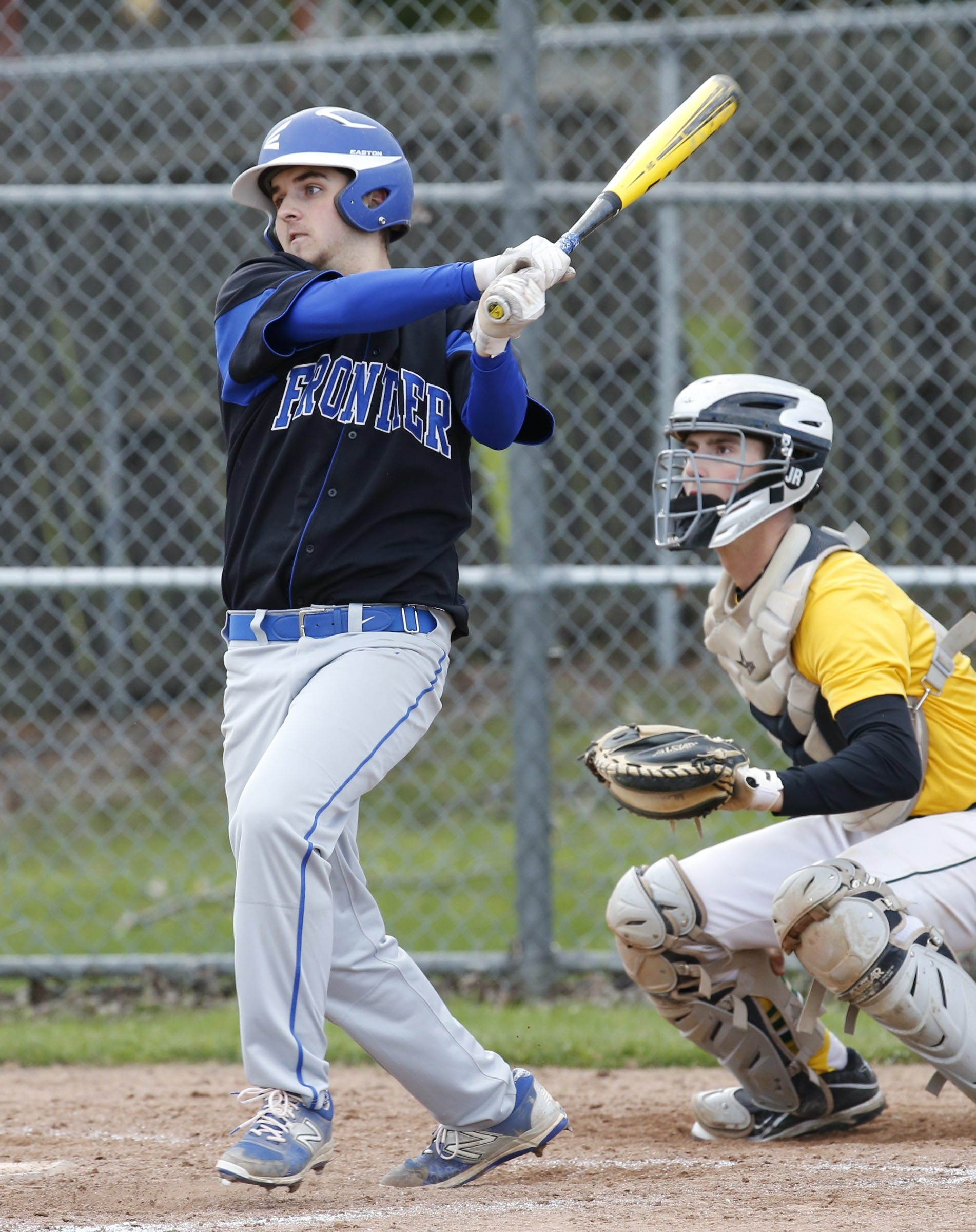 Frontier's Matt Kellner singles during Friday's game against WIlliamsville North. The Falcons took a 5-3 decision.
