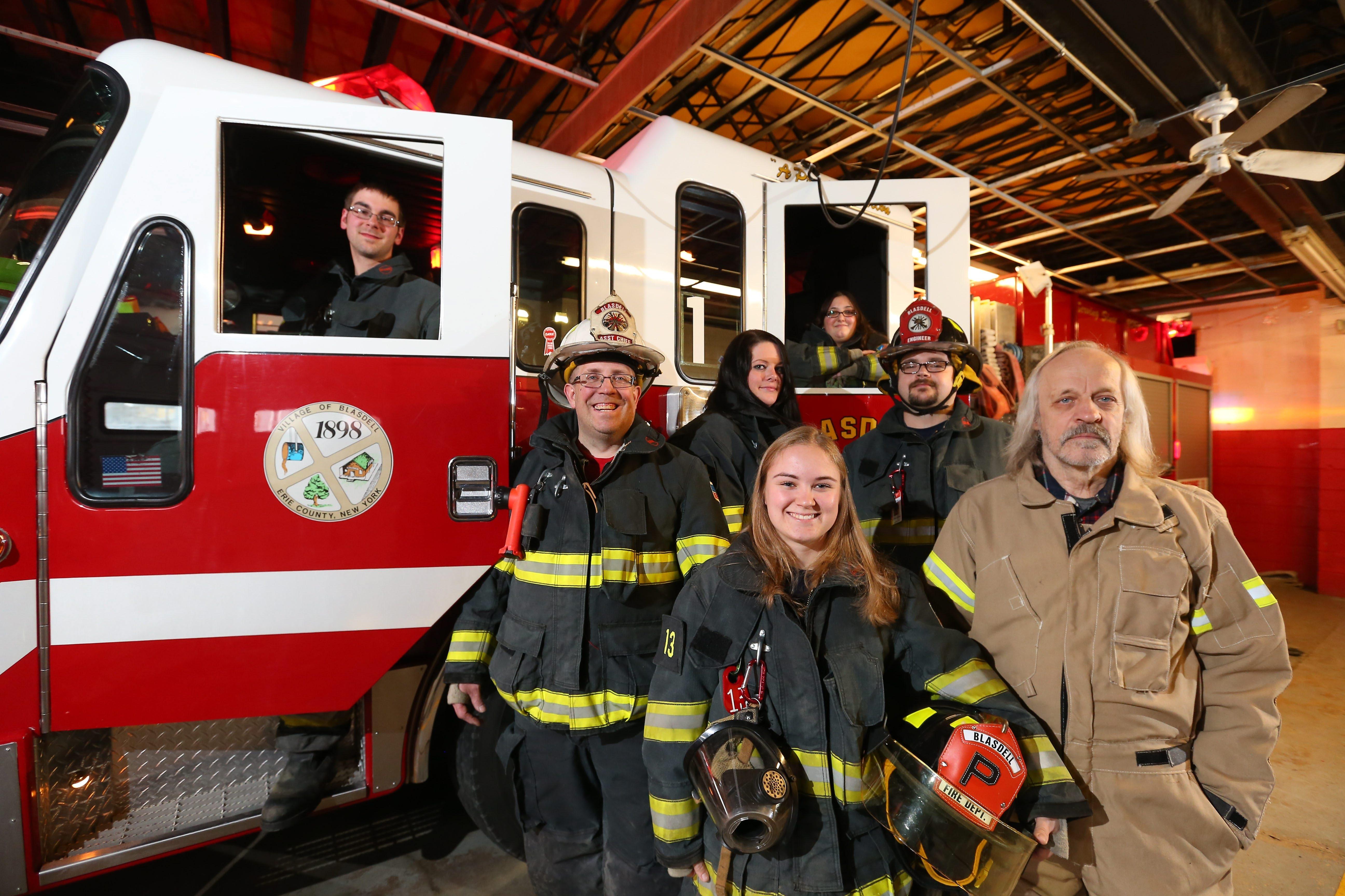 Blasdell volunteer firefighters, from left : Erik Kobel, Greg Stoklosa, Renee Murray, Elenor Murcko, Loretta Fusco, Matthew Tremblay and Michael Paulick are ready for the open house.