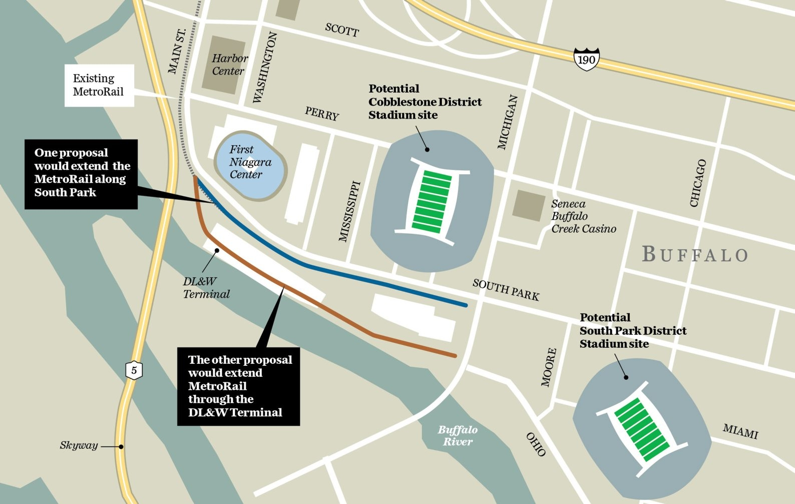 Graphic shows proposed extension of MetroRail