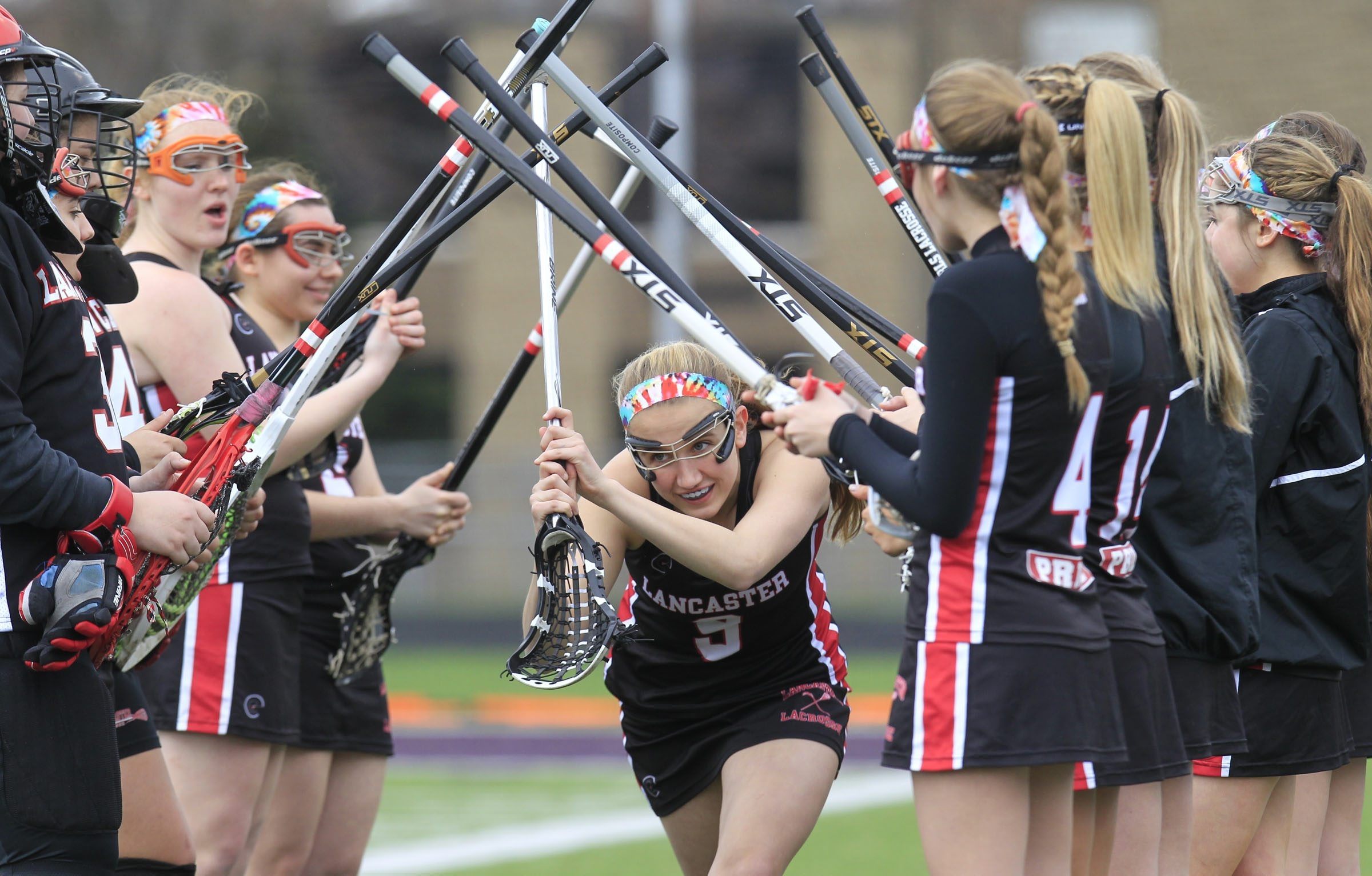 The Lancaster girls varsity lacrosse team at a recent game against Hamburg.(Harry Scull Jr./Buffalo News)