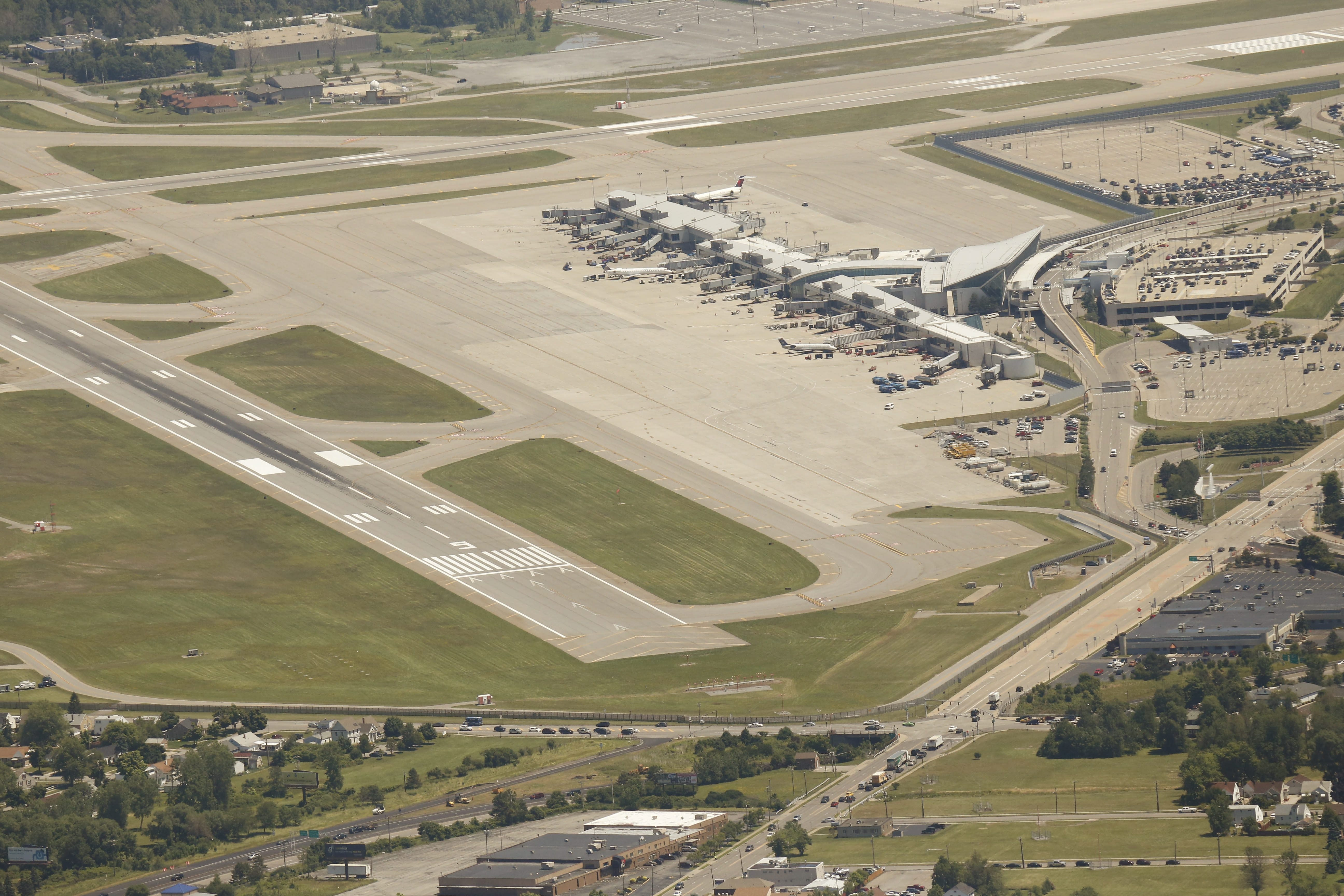 A aerial view of Buffalo Niagara International Airport is shown from July 2014.