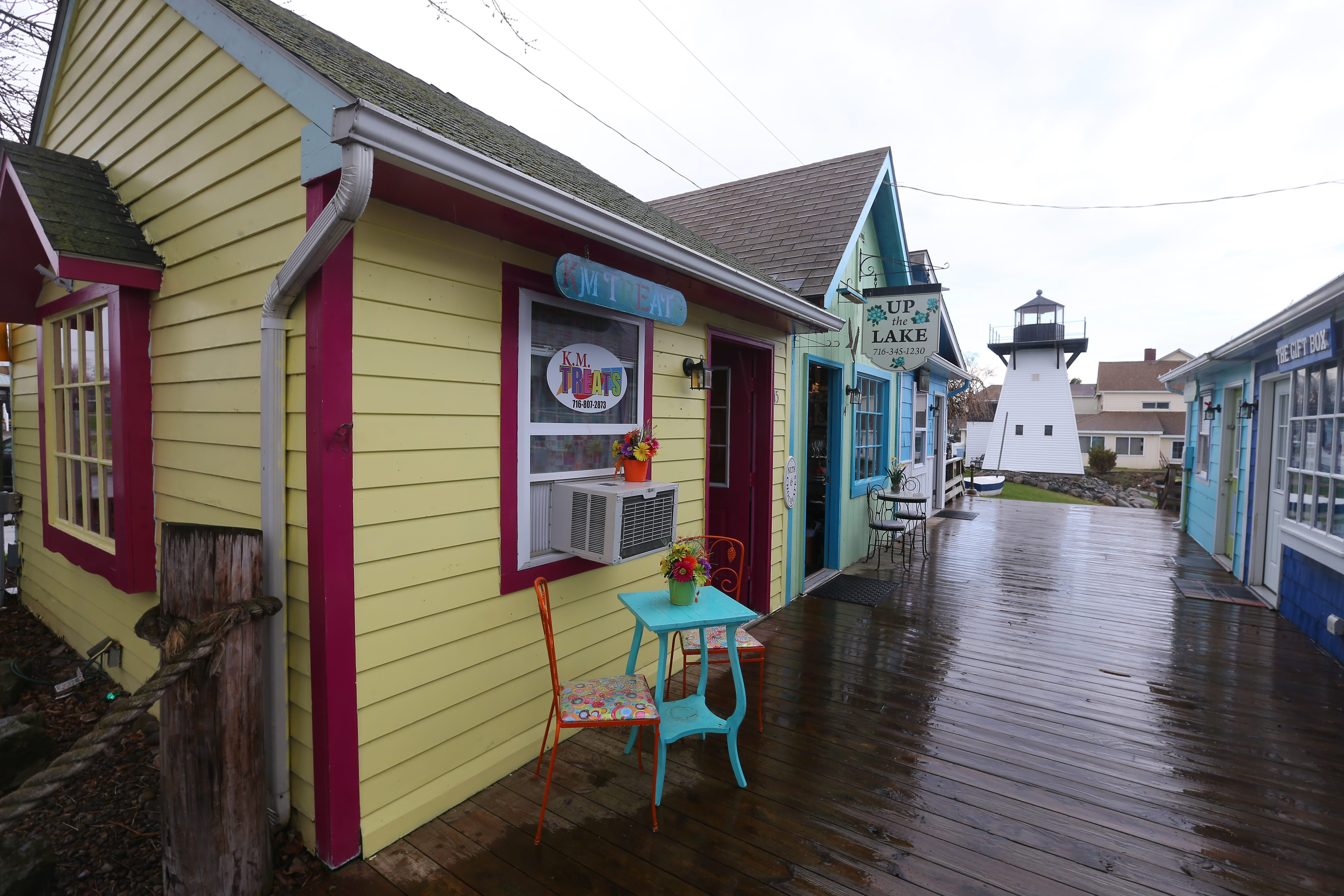 The Lakeview Village Shoppes in Olcott were opened nearly 25 years ago as a way to boost tourism during the summer months. Art, jewelry, jams and jellies, souvenirs, memorabilia, antiques, clothes and food are sold at the shops.