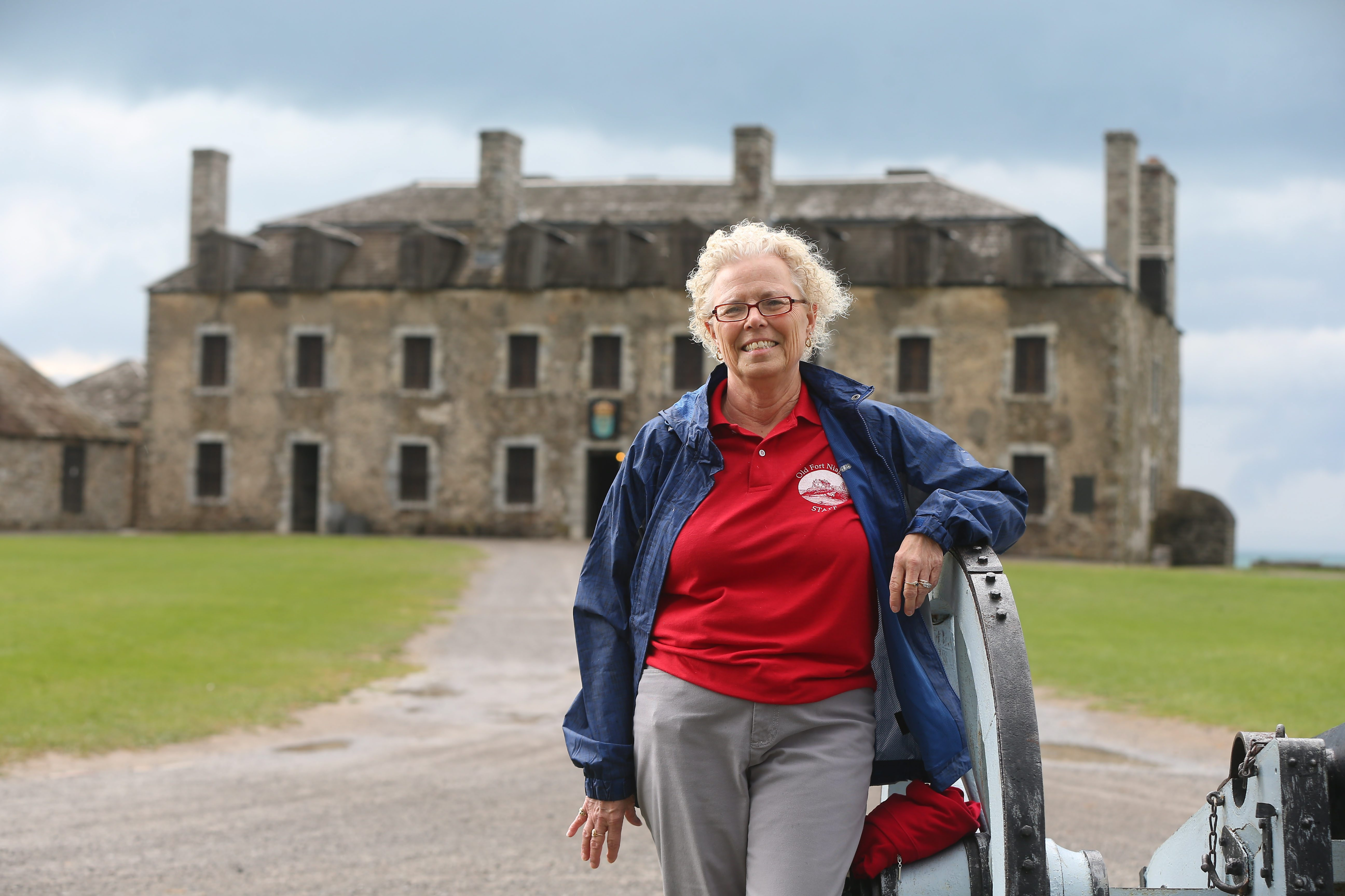 """Elaine M. Hildreth, who was an elementary school teacher for 34 years, earns praise for her """"cheerful disposition and love of history"""" as Old Fort Niagara volunteer tour guide."""