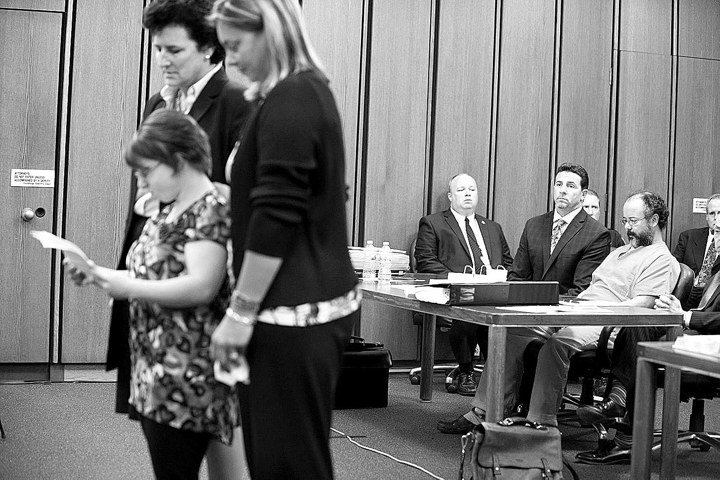 Michelle Knight, left, addresses the court while Ariel Castro listens in the background on Aug. 1, 2013, in Cleveland.