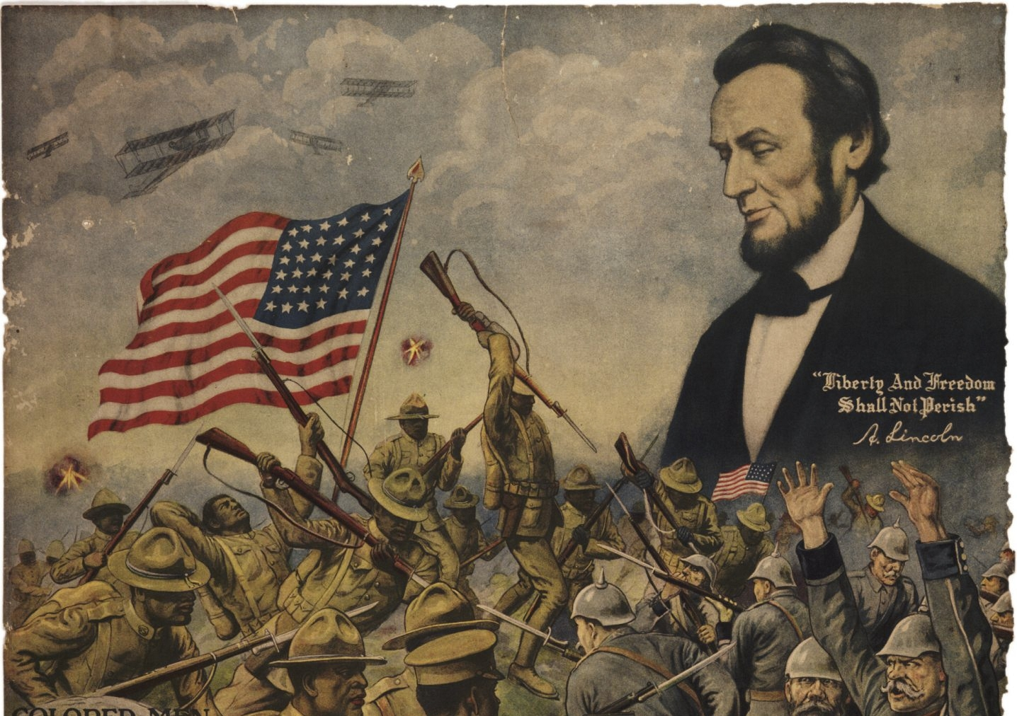 More than half a century after his assassination, this World War I recruiting poster invoked President Abraham Lincoln. (Gilder Lehrman Institute of American History via the New York Times)