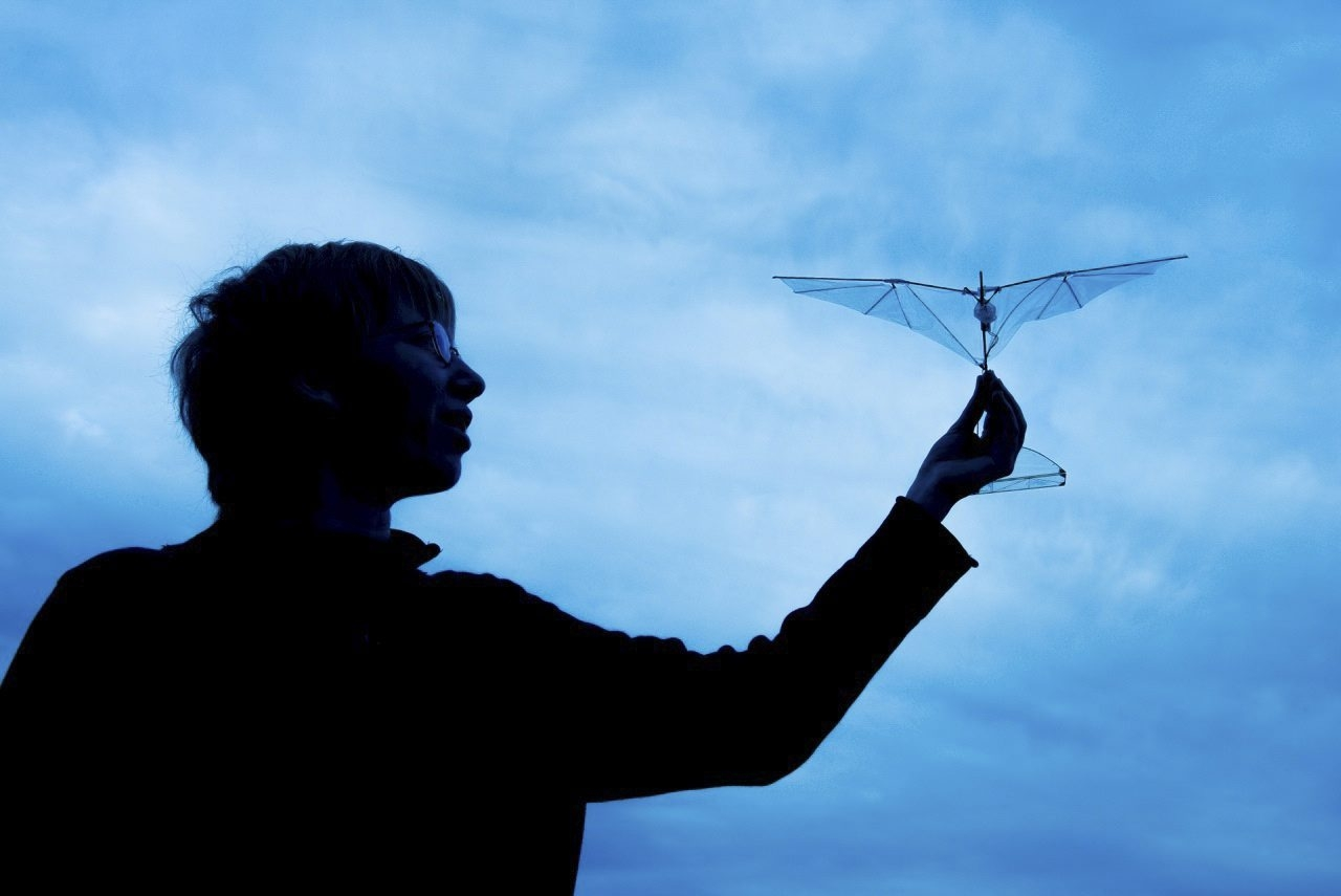 Amanda Stowers demonstrates her passive morning wing design for a flapping robot, which is able to bend, much like a bird's wing.