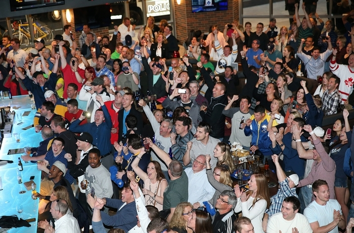 (716) was packed as Sabres fans gathered for the 2015 NHL draft lottery, which was held Saturday night in Toronto. The crowd cheered every time a team didn't win the lottery. (Photos by Sharon Cantillon/Buffalo News)