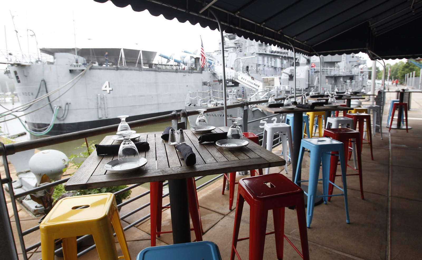 Vibrant chairs and a view that overlooks the Naval Park and the Buffalo River have helped make the Liberty Hound a seasonal destination. (Sharon Cantillon/News file photo)
