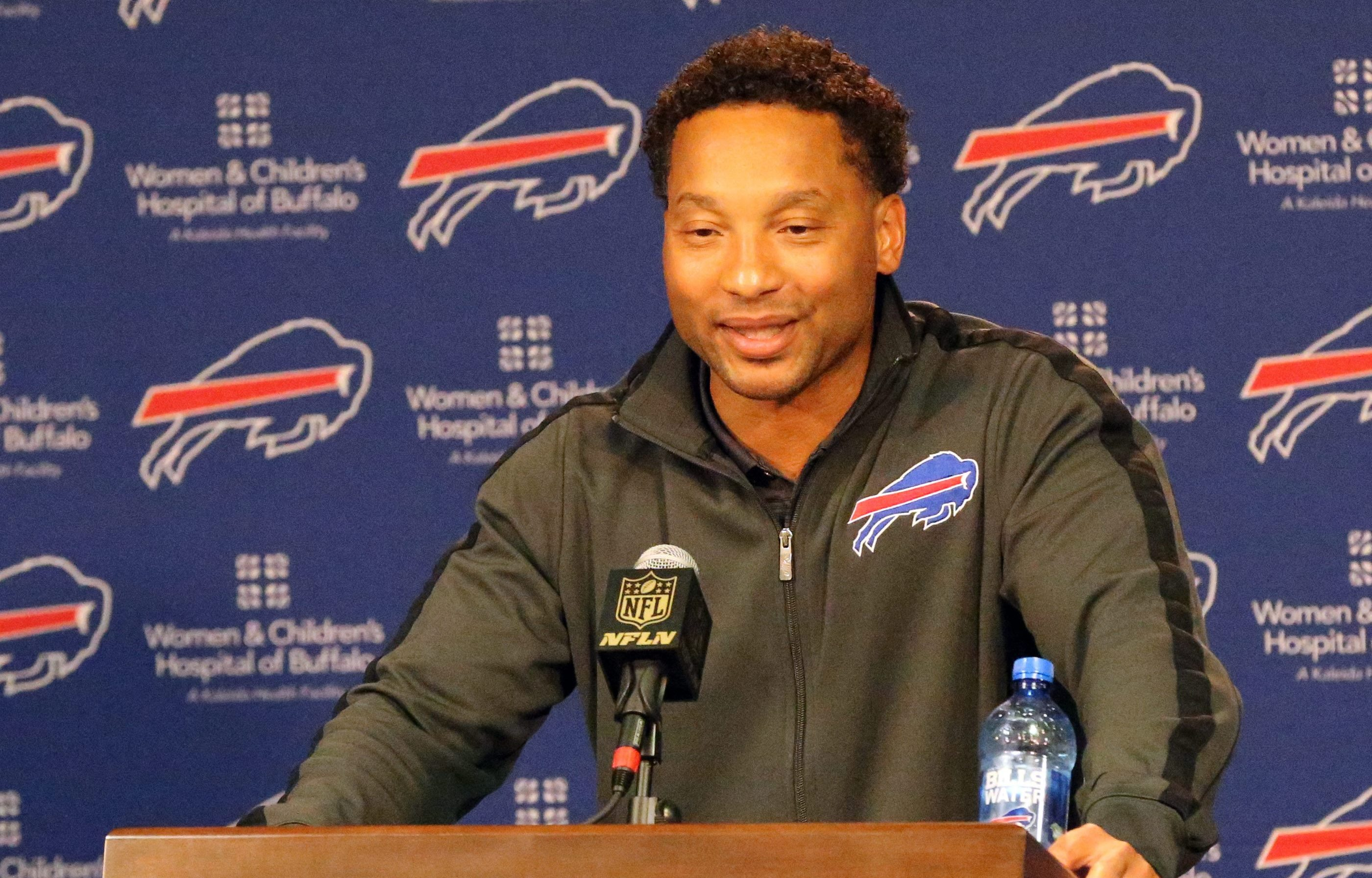 Doug Whaley meets the media late Thursday night near the end of the first round of the NFL Draft. (James P. McCoy/Buffalo News)