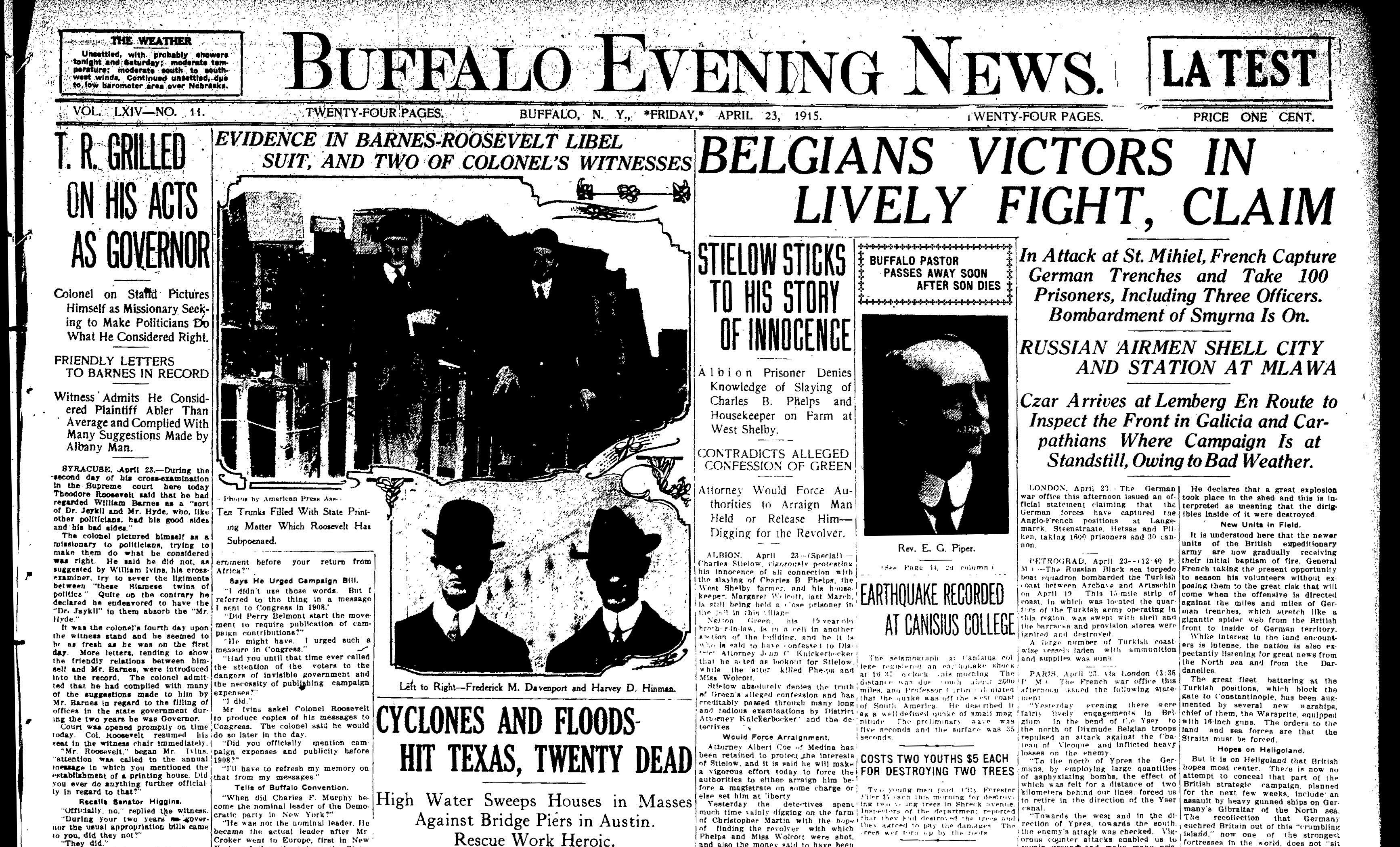 Front page April 23, 1915: Teddy Roosevelt takes the stand in Syracuse