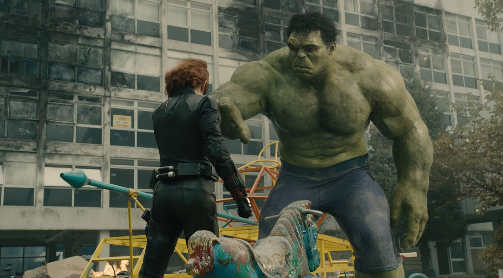 Marvel's Avengers: Age Of Ultron. Pictured are the Black Widow (Scarlett Johansson) and Hulk (Mark Ruffalo).