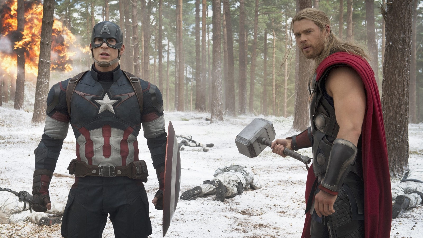 From left to right, Captain America/Steve Rogers (Chris Evans) and Thor (Chris Hemsworth) from 'The Avengers: Age of Ultron.'