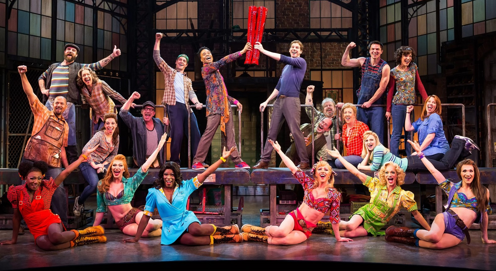 'Kinky Boots' is on stage through Sunday in Shea's Performing Arts Center. Pictured is the original cast from the Broadway production. (Matthew Murphy)