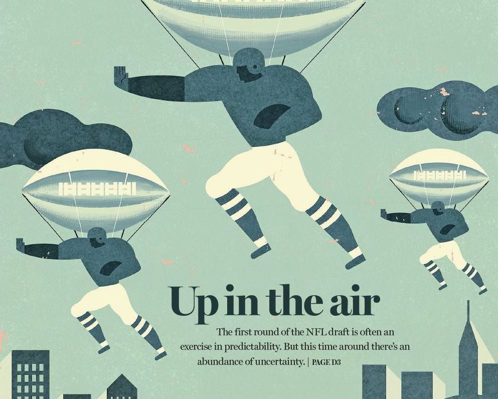 The first round of the NFL Draft is often an exercise in predictability. But this time around there's an abundance of uncertainty. (Illustration by Daniel Zakroczemski)