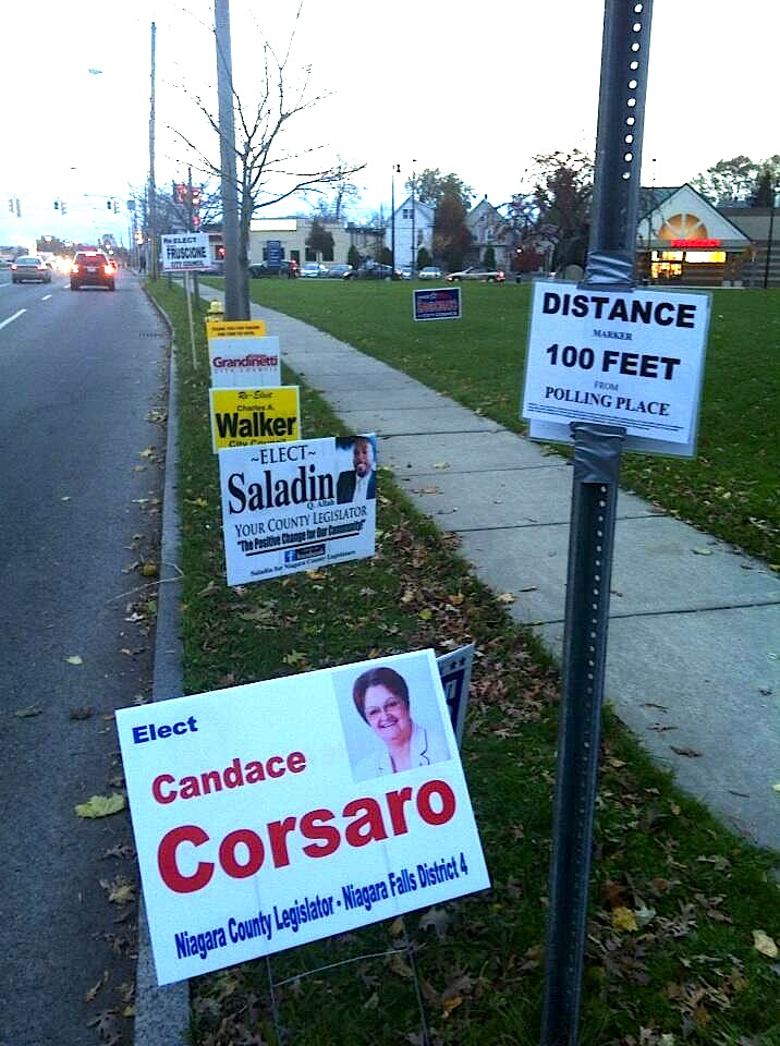 Some campaign signs line Portage Road next to the Niagara Arts & Cultural Center on election night in 2013. (Aaron Besecker/Buffalo News file photo)