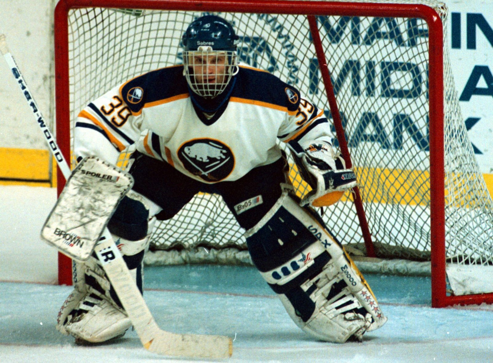 Dominik Hasek made 70 saves, including 39 in the overtime periods. (James P. McCoy/Buffalo News)
