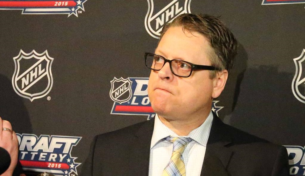 Tim Murray spoke to the press following the NHL Draft Lottery. (James P. McCoy/Buffalo News)