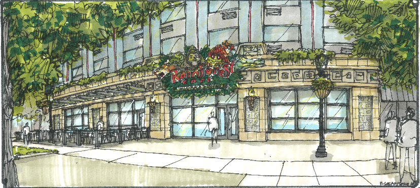 An artist's rendering of the planned Rainforest Café in the Sheraton at the Falls on Old Falls Street in Niagara Falls, N.Y.