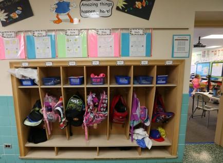 Kindergarten students lockers at Maple East Elementary in Williamsville Thursday, May 7, 2015.    (Mark Mulville/Buffalo News)
