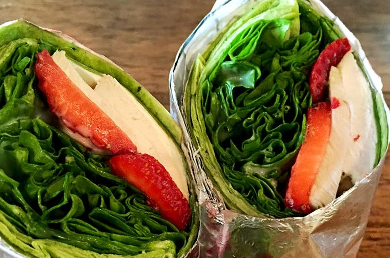 Spinach, goat cheese, strawberries and poppyseed dressing in a wrap from Salt Cuisine. (Via Salt Cuisine's Facebook page)
