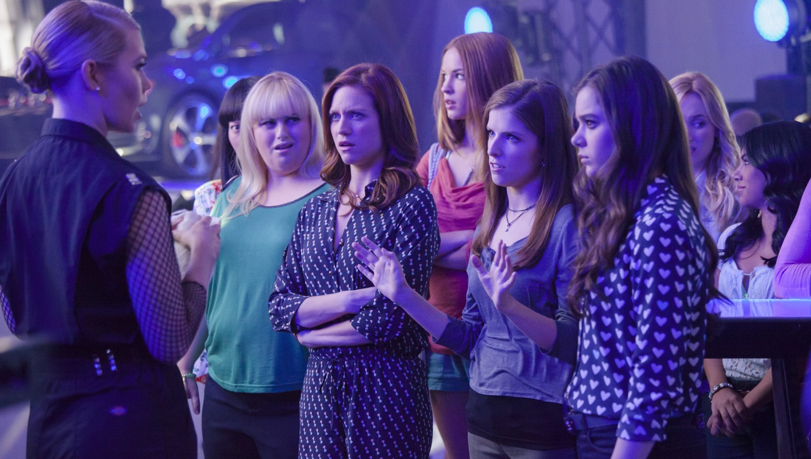 "Birgitte Hjort Sorensen, left, Rebel Wilson, Brittany Snow, Alexis Knapp, Anna Kendrick and Hailee Steinfeld star in ""Pitch Perfect 2."""
