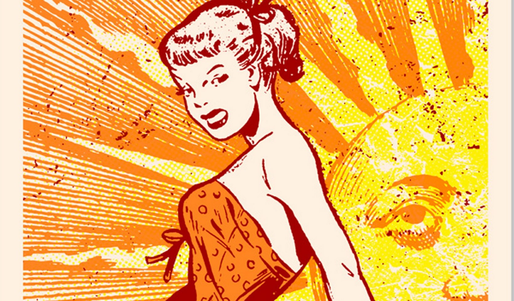 """""""Summer Girl,"""" a screen print by the artist Vintango, will be on view during 464 Gallery's seventh annual members' show through June 3."""