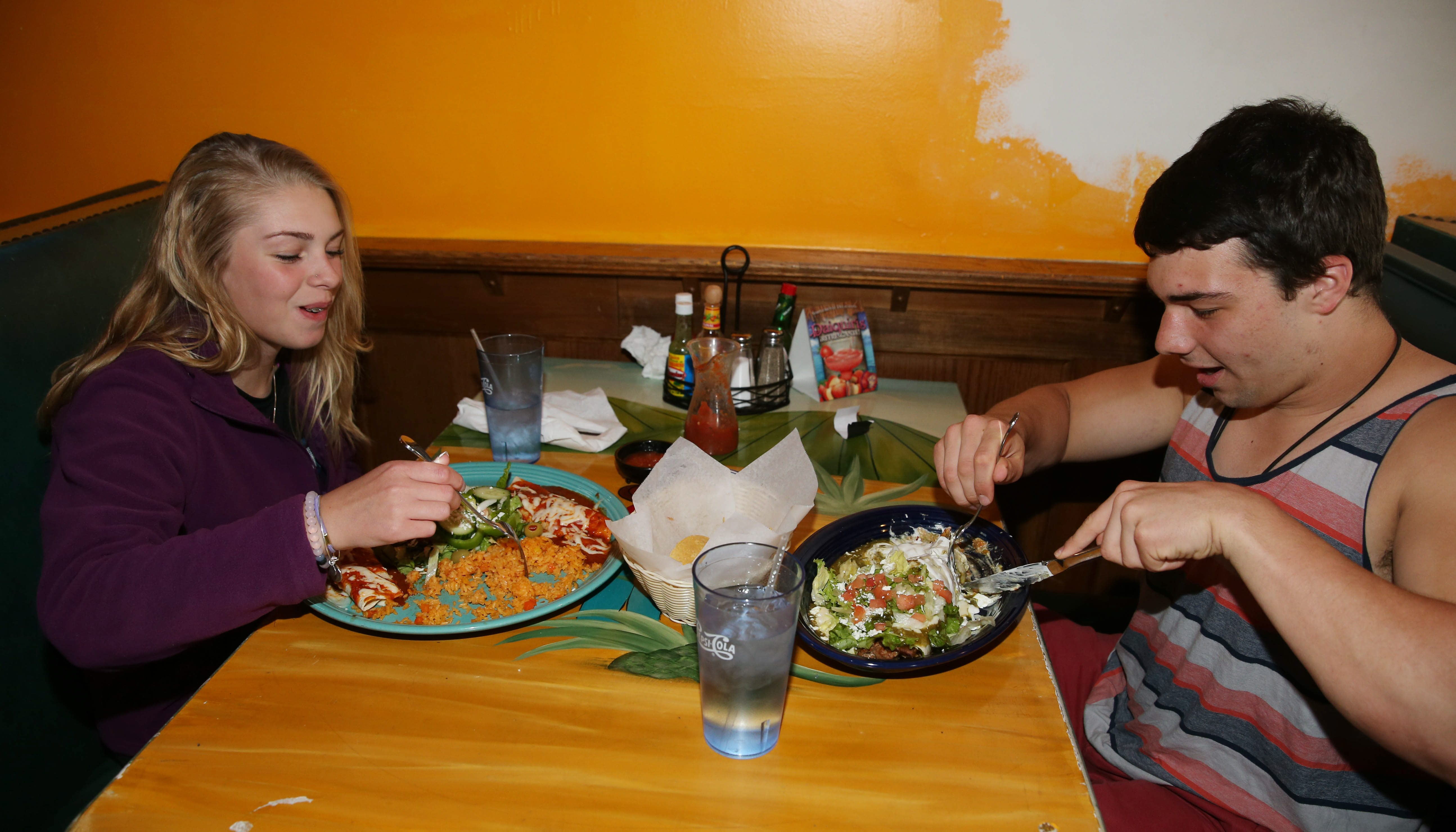 Victoria Gullo, left, and Aaron Harm of West Seneca, have dinner in the new Don Juan Mexican Bar & Grill in West Seneca. (Sharon Cantillon/Buffalo News)